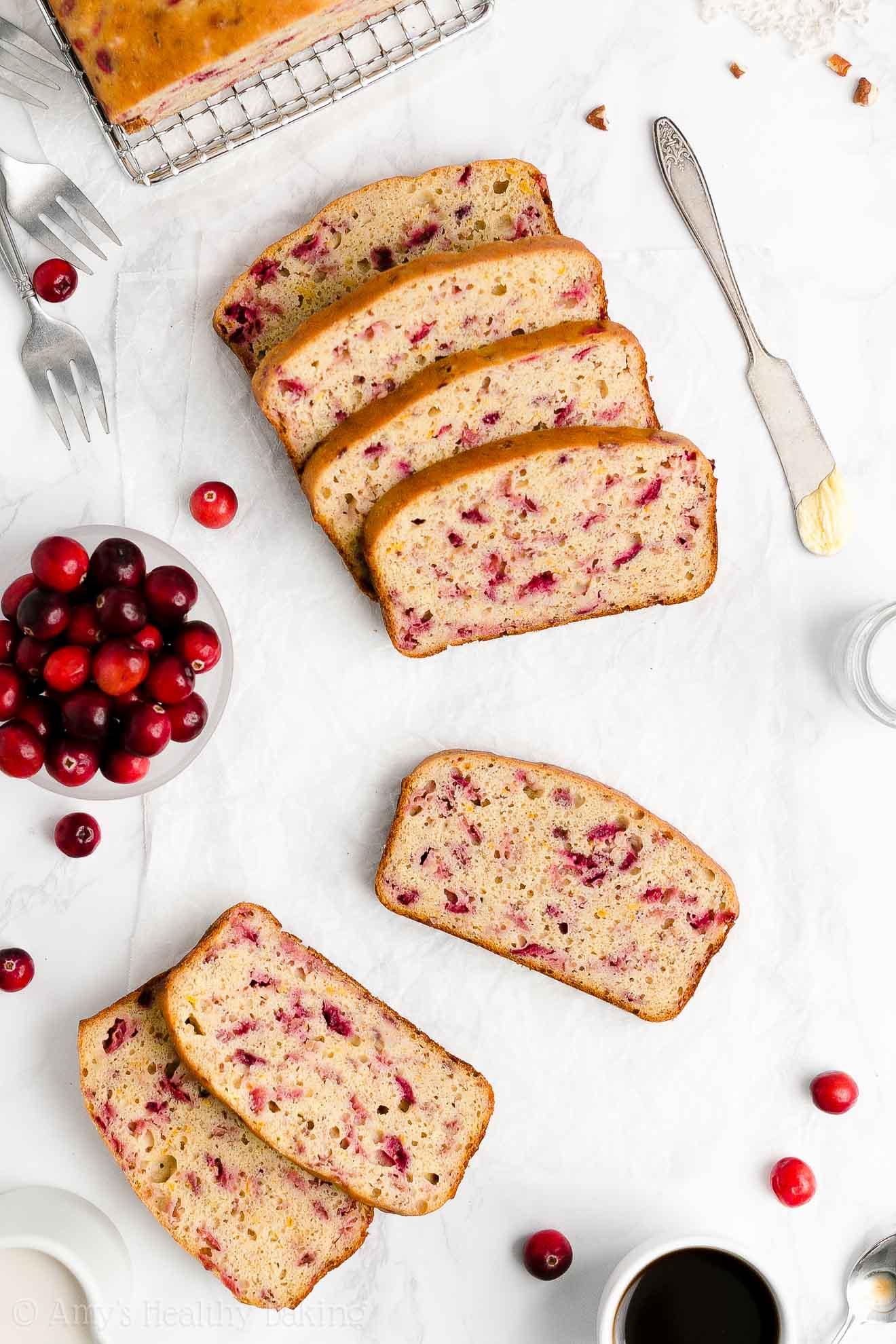 Easy Healthy Clean Eating Low Sugar Fresh Cranberry Orange Banana Bread