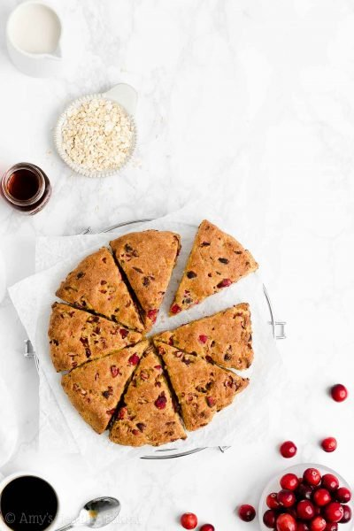 Healthy Cranberry Orange Oatmeal Scones