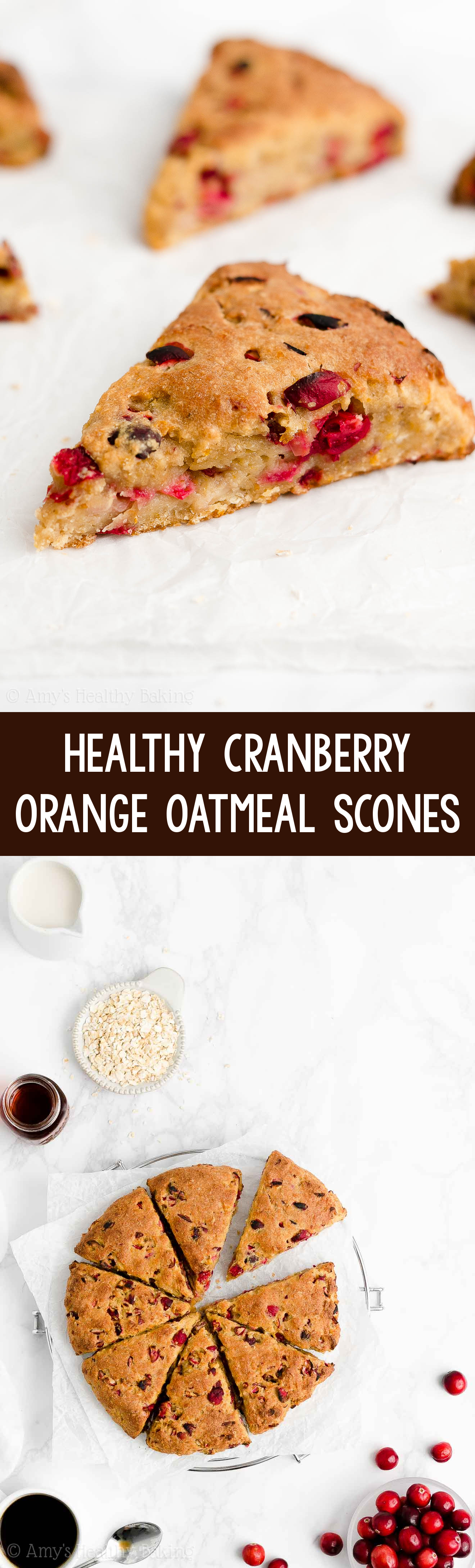 Best Easy Healthy Moist Gluten Free or Whole Wheat Cranberry Orange Oatmeal Scones
