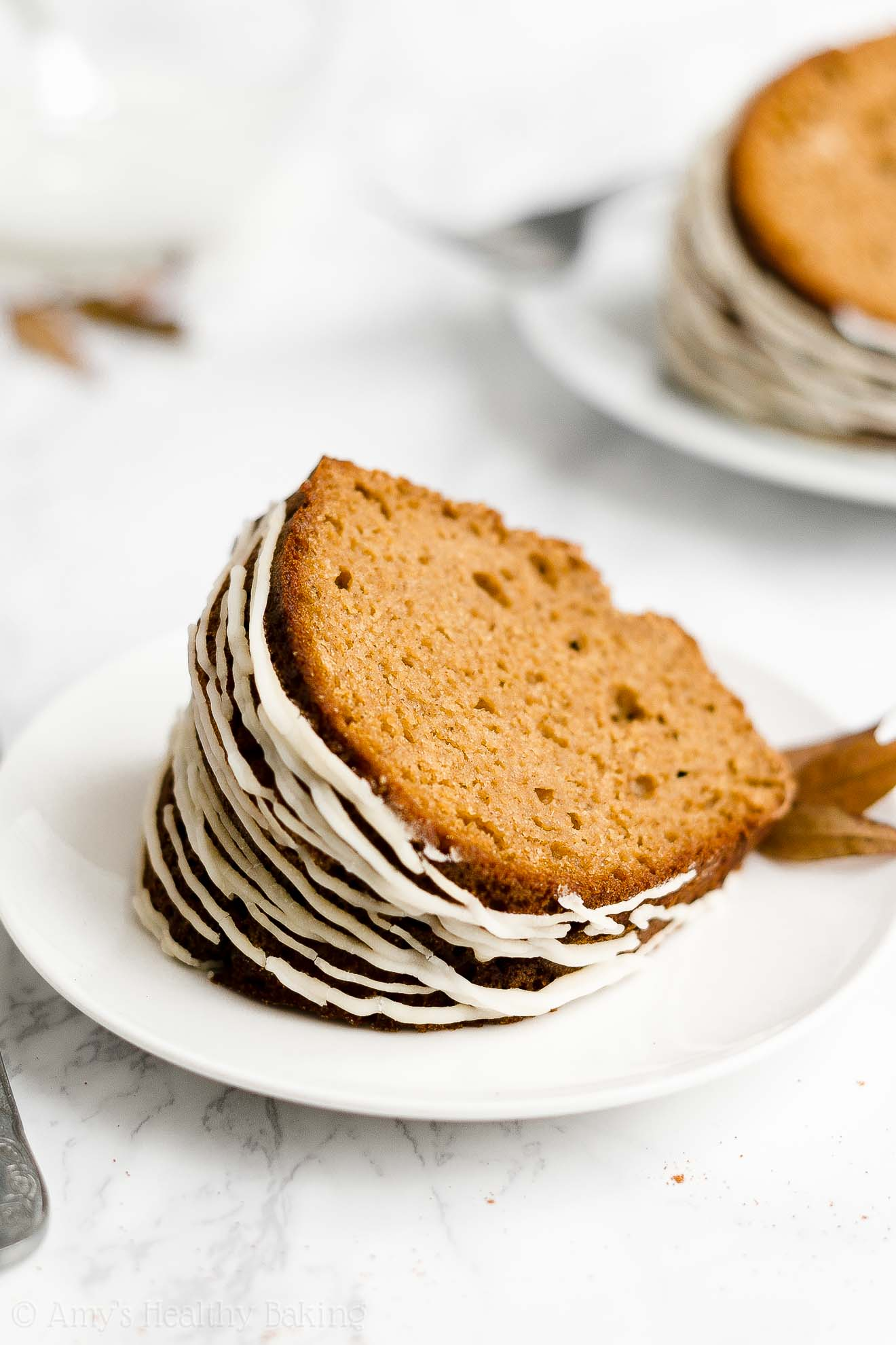 Best Ever Easy Healthy Low Calorie Moist Gingerbread Bundt Cake with Glaze