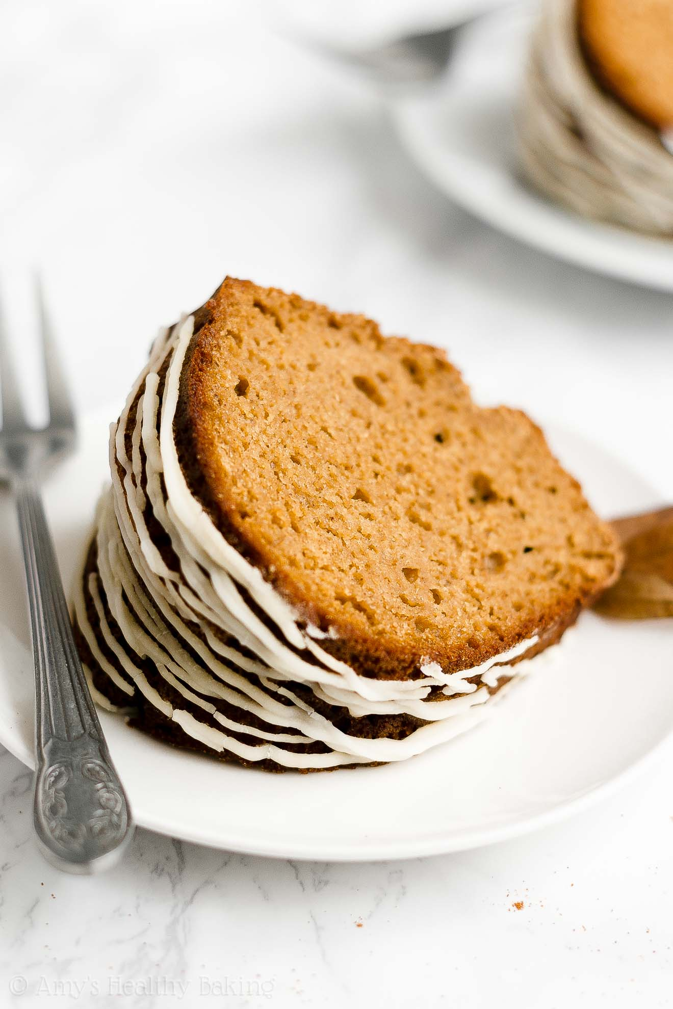BEST Healthy Whole Wheat Low Sugar Moist Gingerbread Bundt Cake with Glaze