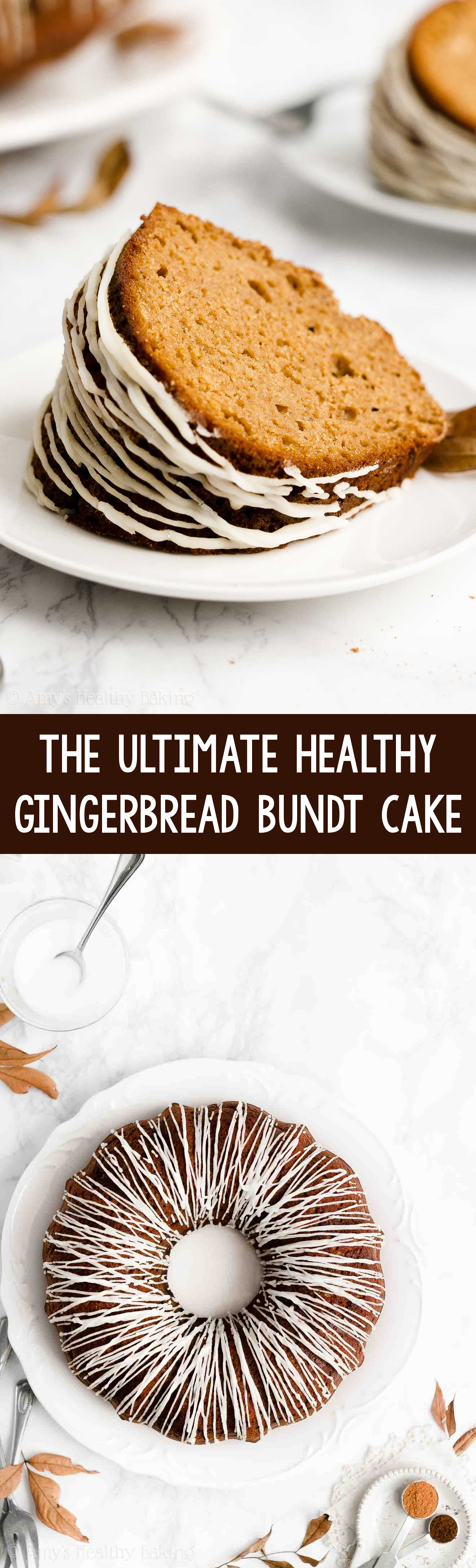 BEST EVER Easy Healthy Old Fashioned Moist Gingerbread Bundt Cake with Sugar Free Glaze