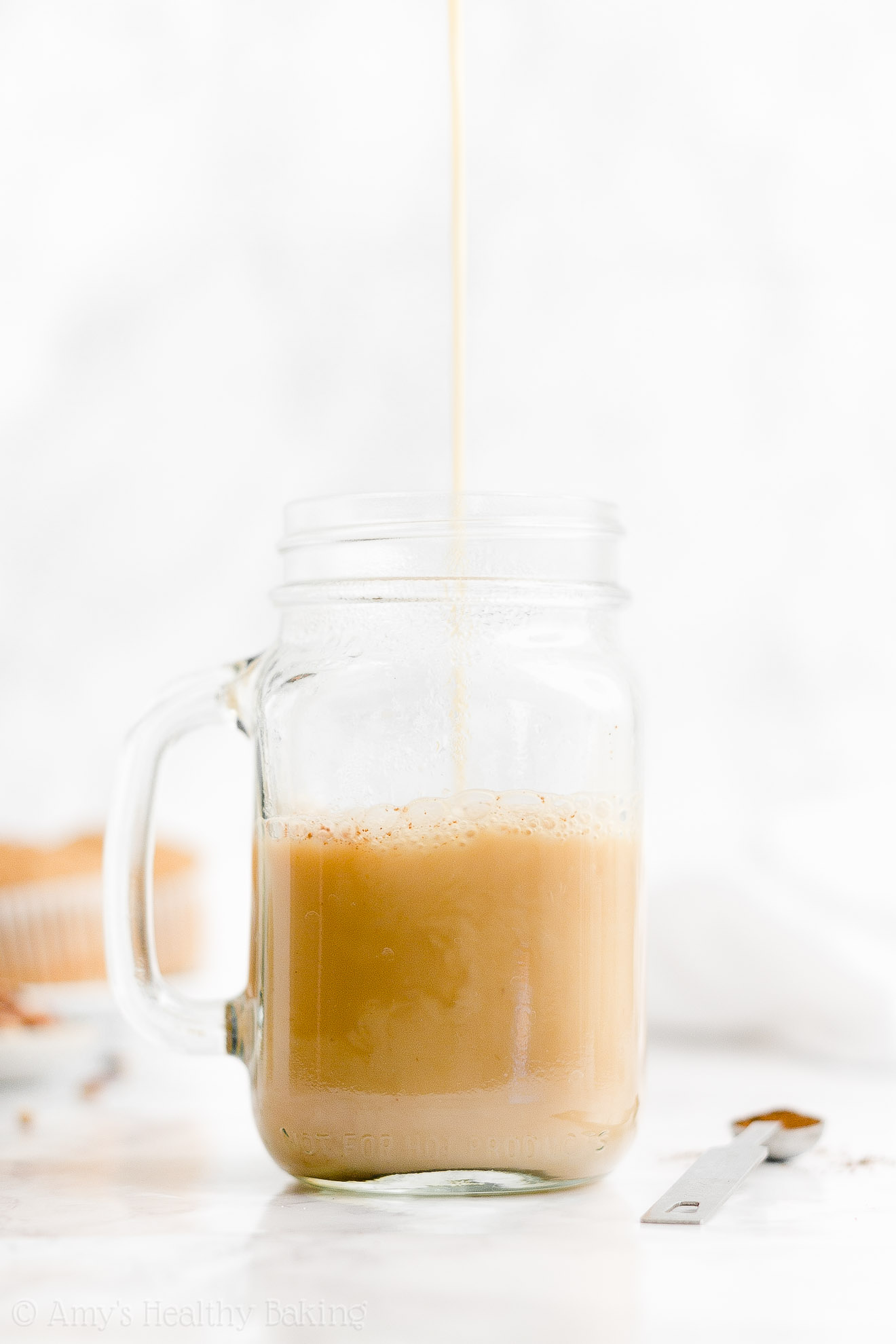 BEST EVER Easy Healthy Low Calorie Homemade Starbucks Eggnog Chai Latte