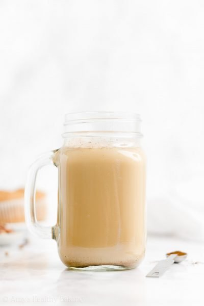 The BEST Healthy Eggnog Chai Latte – SO easy to make & perfect for the holidays! If you can boil water, you can make this chai latte! And nobody can tell it's secretly dairy-free & vegan! ♡ easy homemade eggnog chai latte recipe. diy vegan chai latte with tea bags. how to make an almond milk eggnog chai latte.