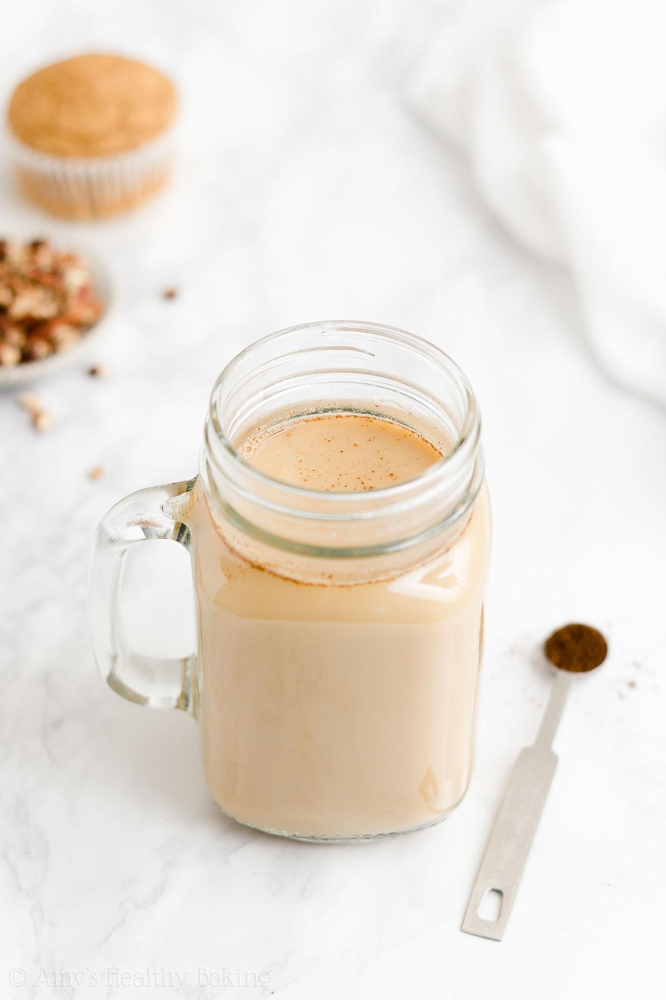 BEST EVER Easy Healthy Low Calorie Copycat Starbucks Eggnog Chai Latte