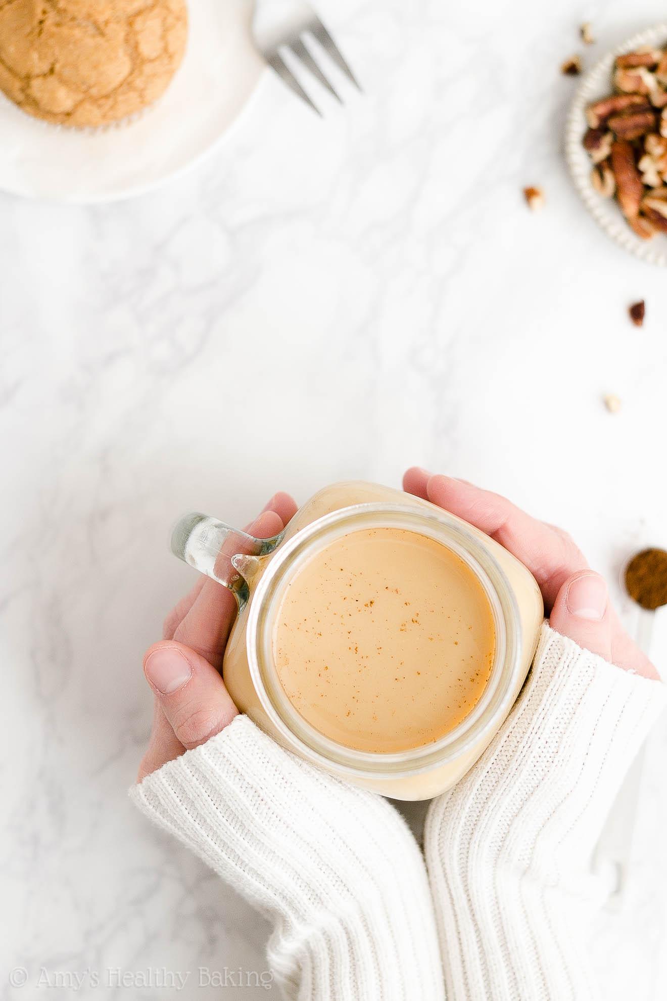 BEST EVER Easy Healthy Homemade Copycat Starbucks Vegan Eggnog Chai Latte