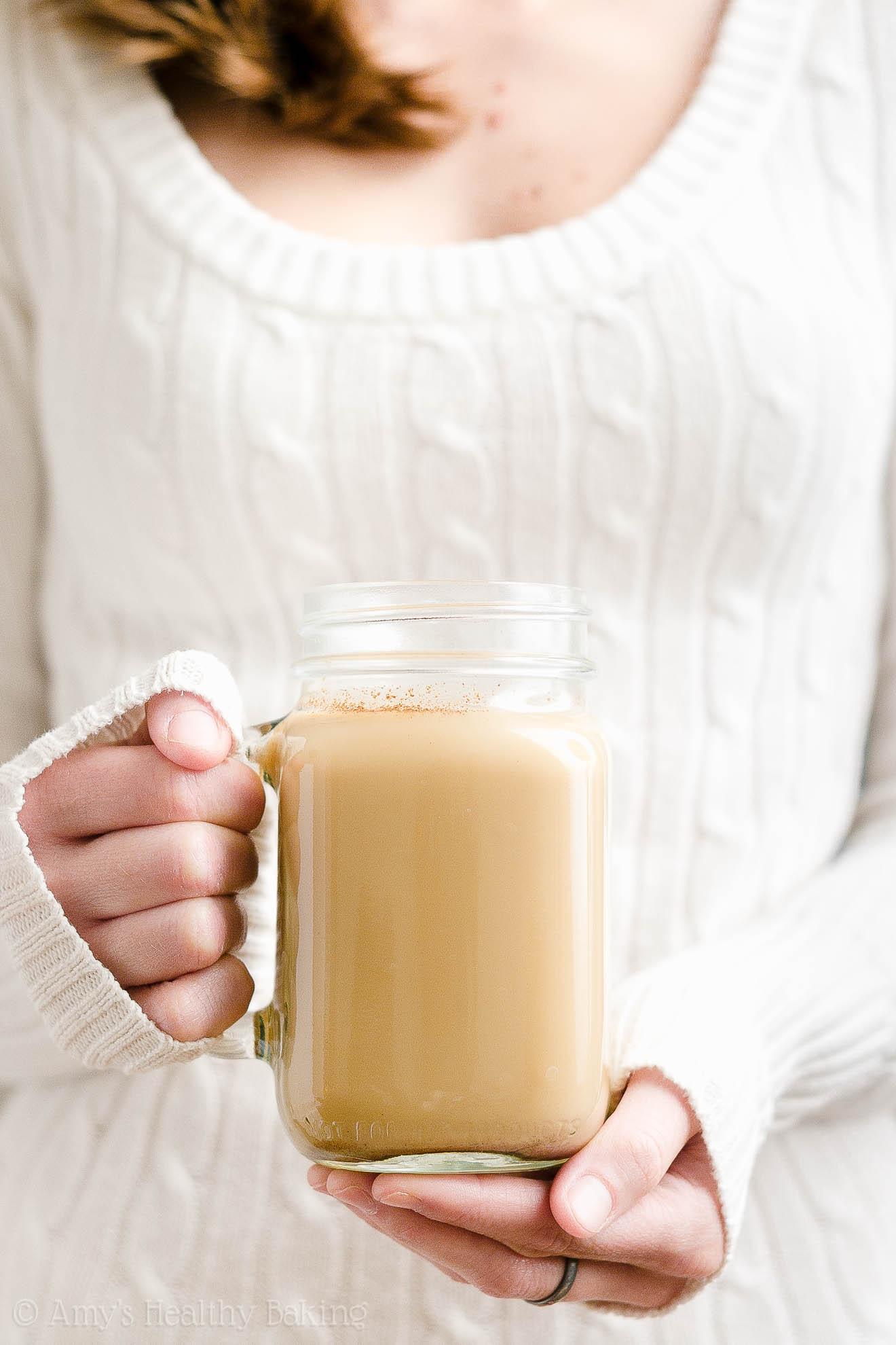 BEST EVER Easy Healthy Homemade Copycat Starbucks Eggnog Chai Latte