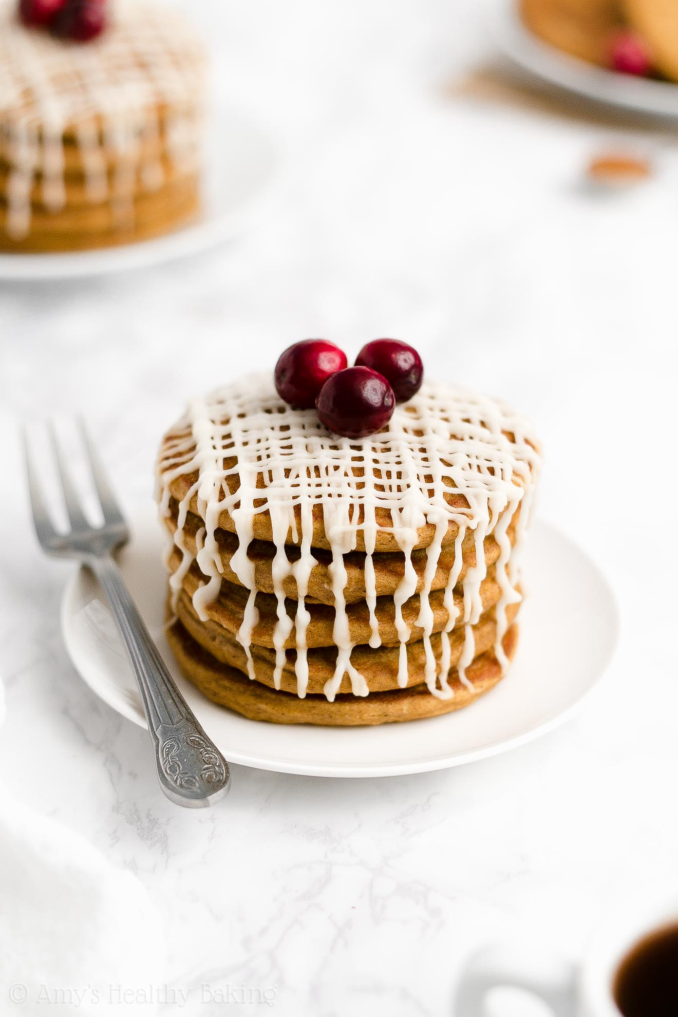 BEST EVER Easy Healthy Whole Wheat Low Fat Fluffy Gingerbread Pancakes