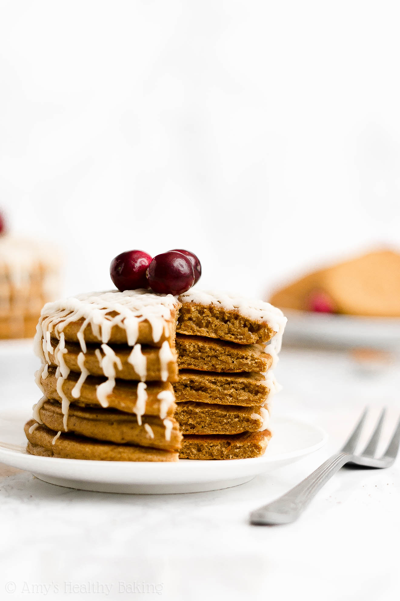 BEST EVER Easy Healthy Whole Wheat Sugar Free Fluffy Gingerbread Pancakes