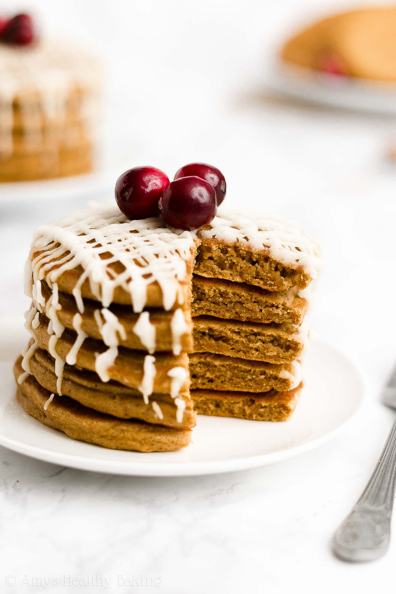 BEST EVER Easy Healthy Low Sugar Greek Yogurt Fluffy Gingerbread Pancakes