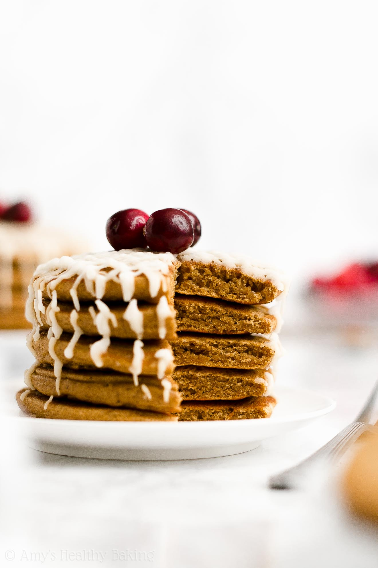 BEST EVER Easy Healthy Homemade Whole Wheat Fluffy Gingerbread Pancakes