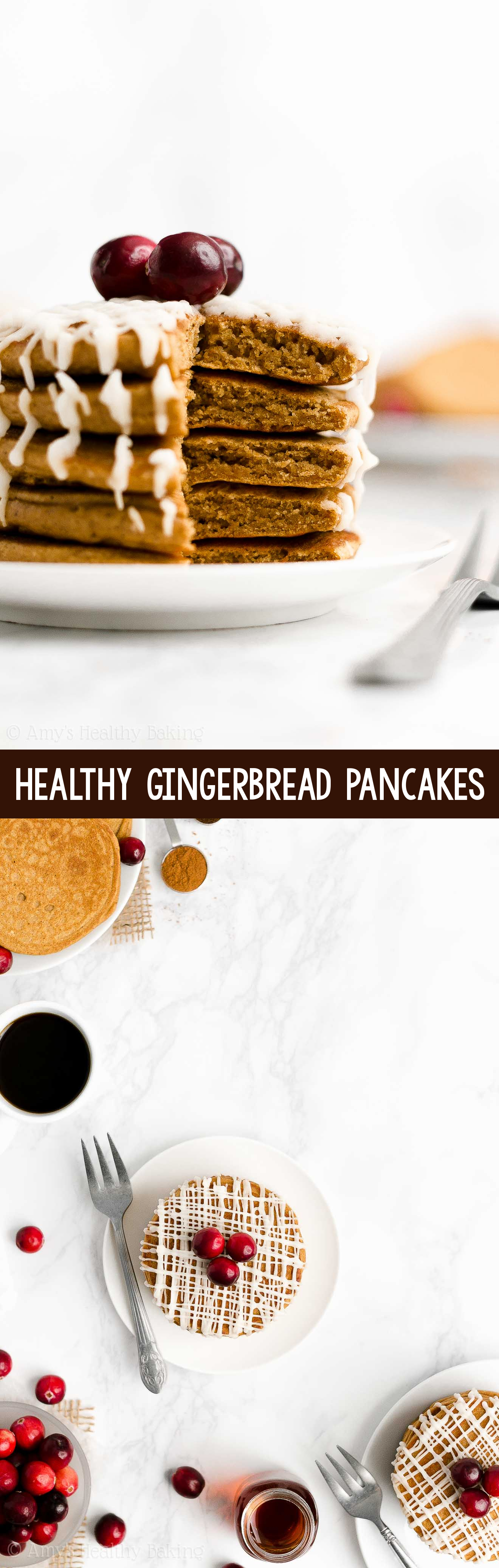 BEST Easy Healthy Fluffy Low Calorie Gingerbread Pancakes for Christmas Breakfast