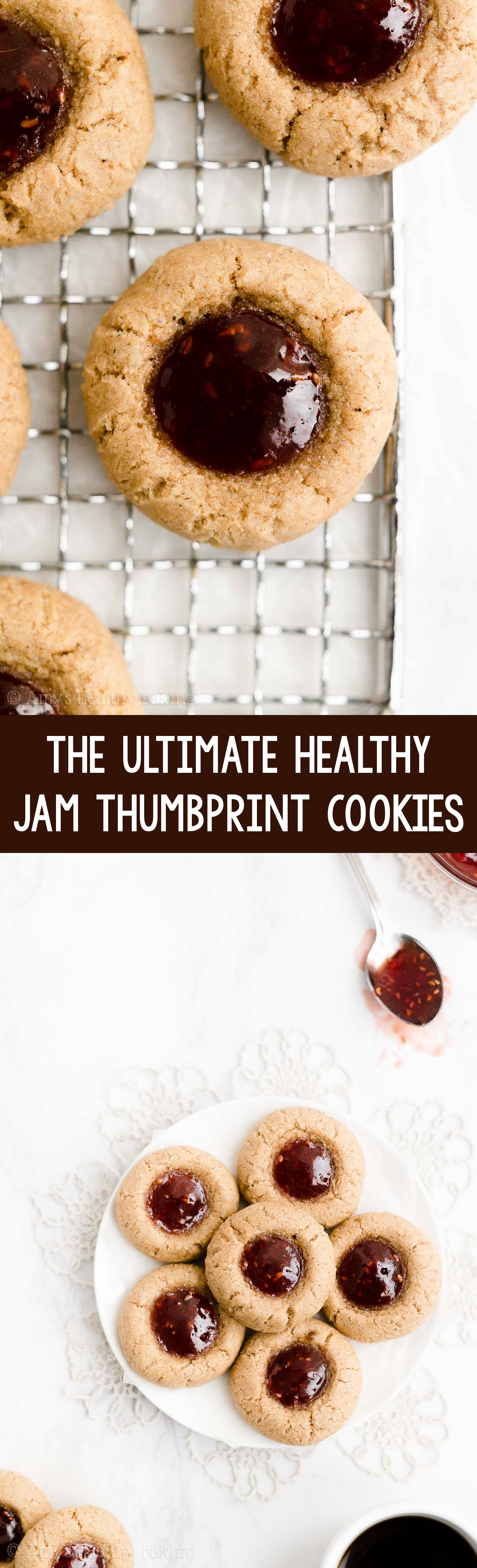 BEST Easy & Healthy Low Calorie Soft Christmas Raspberry Jam Thumbprint Cookies