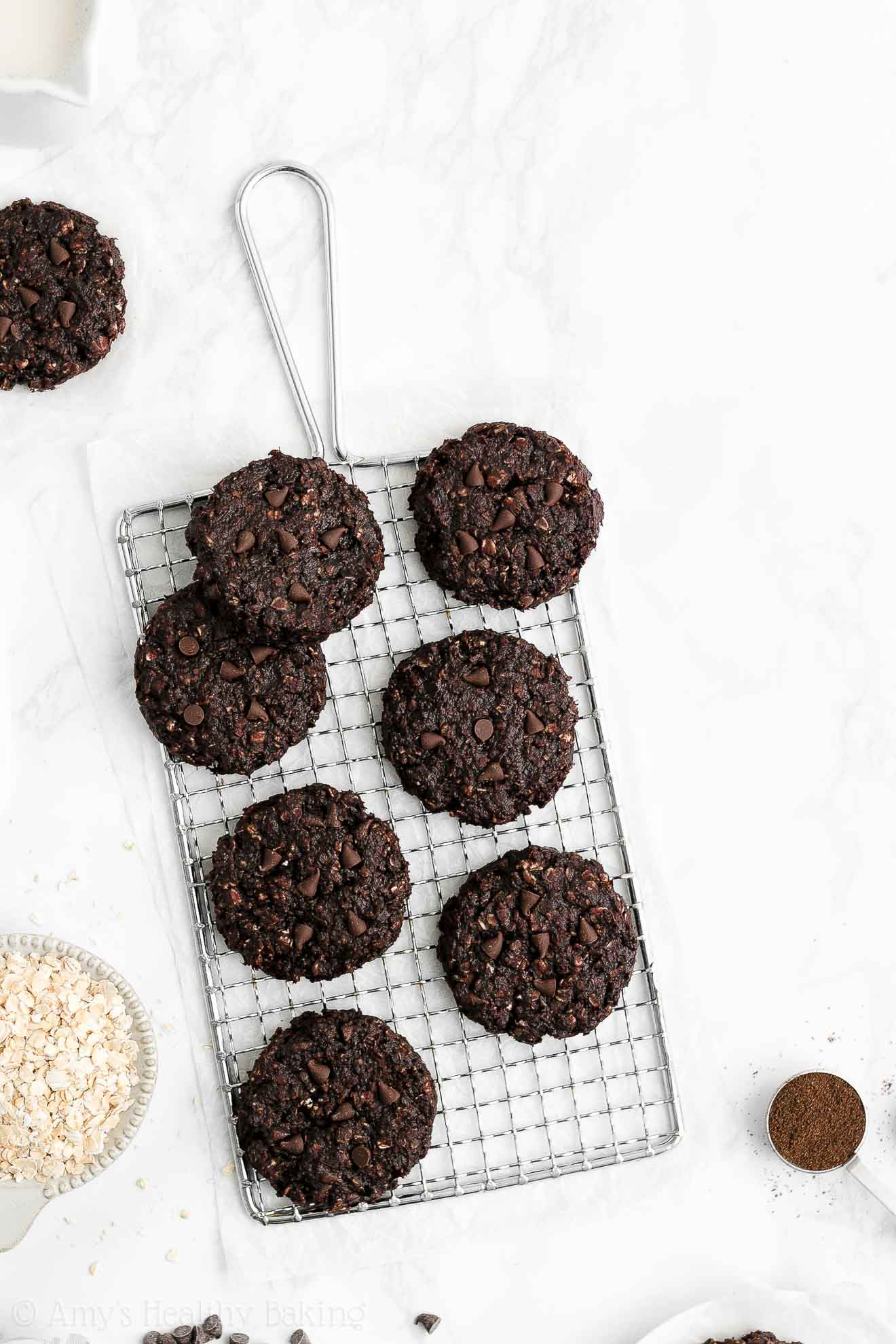 Healthy Low Calorie Vegan Flourless Eggless Double Chocolate Oatmeal Cookies