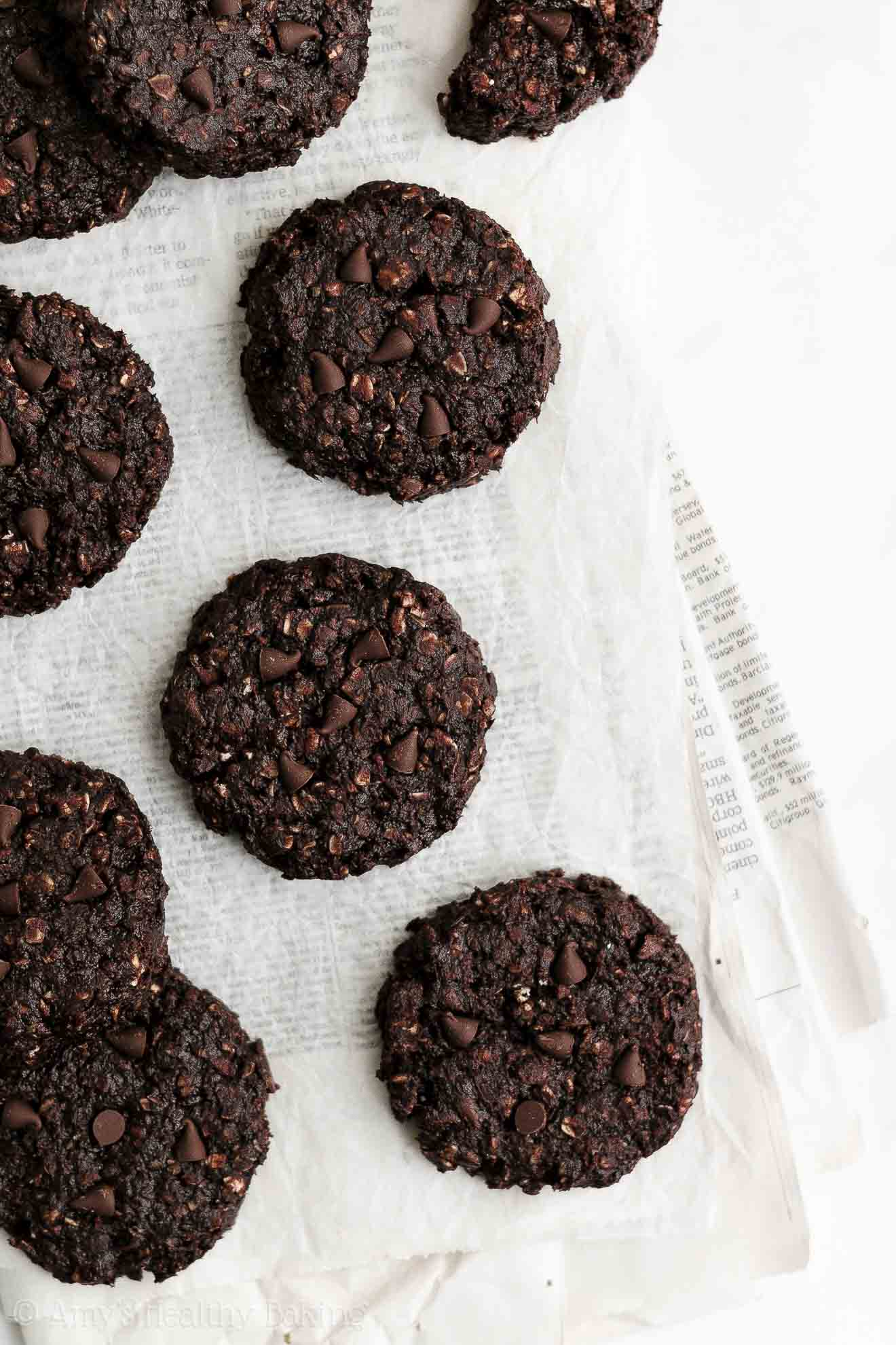 Healthy Soft & Chewy Flourless Egg Free Double Chocolate Oatmeal Cookies