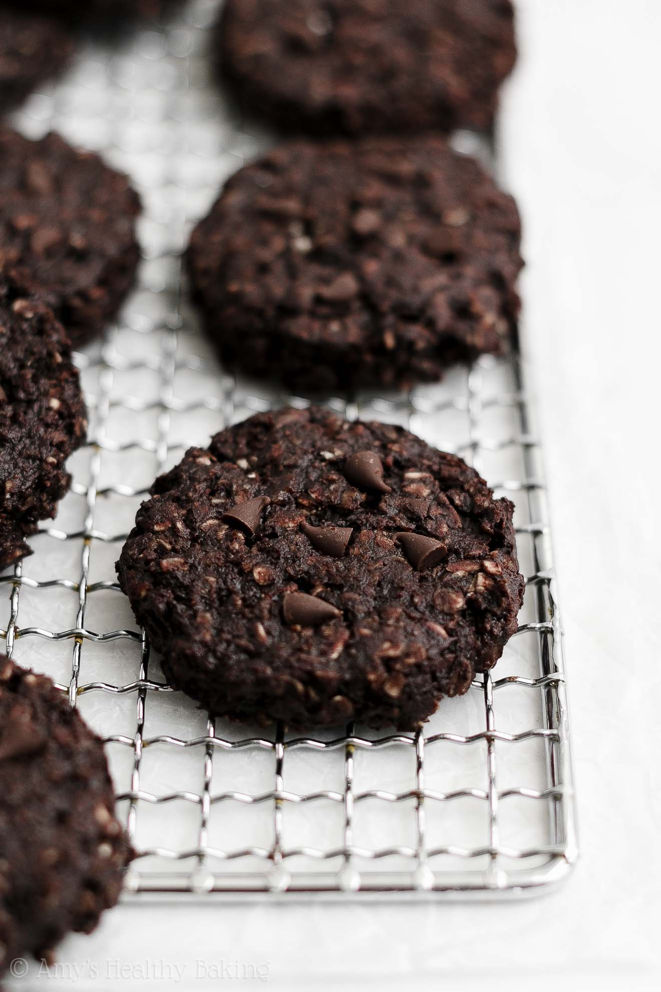 Healthy Vegan Gluten-Free Flourless Eggless Double Chocolate Oatmeal Cookies