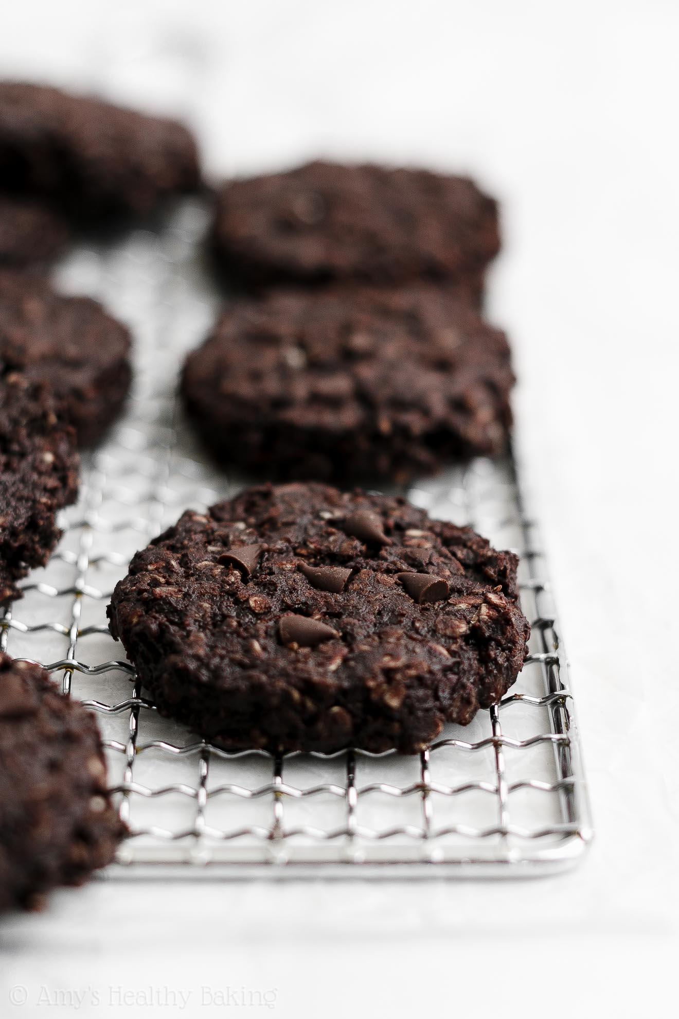 Healthy Weight Watchers Flourless Eggless Double Chocolate Oatmeal Cookies