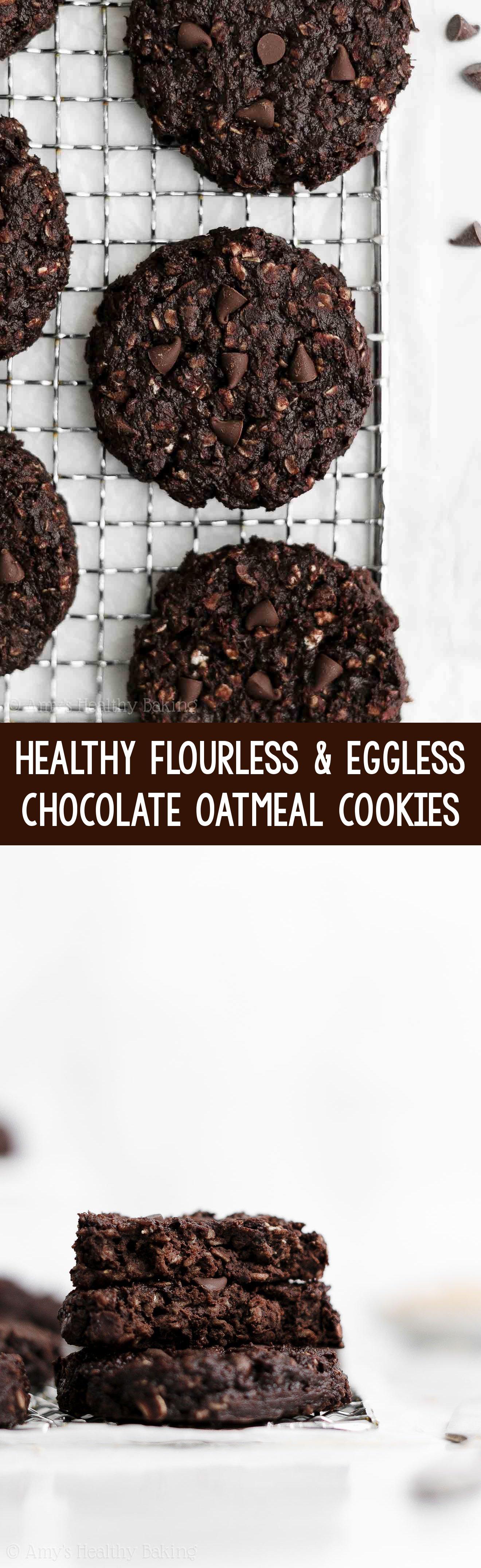 Best Easy Healthy Gluten Free Vegan Flourless Eggless Double Chocolate Oatmeal Cookies