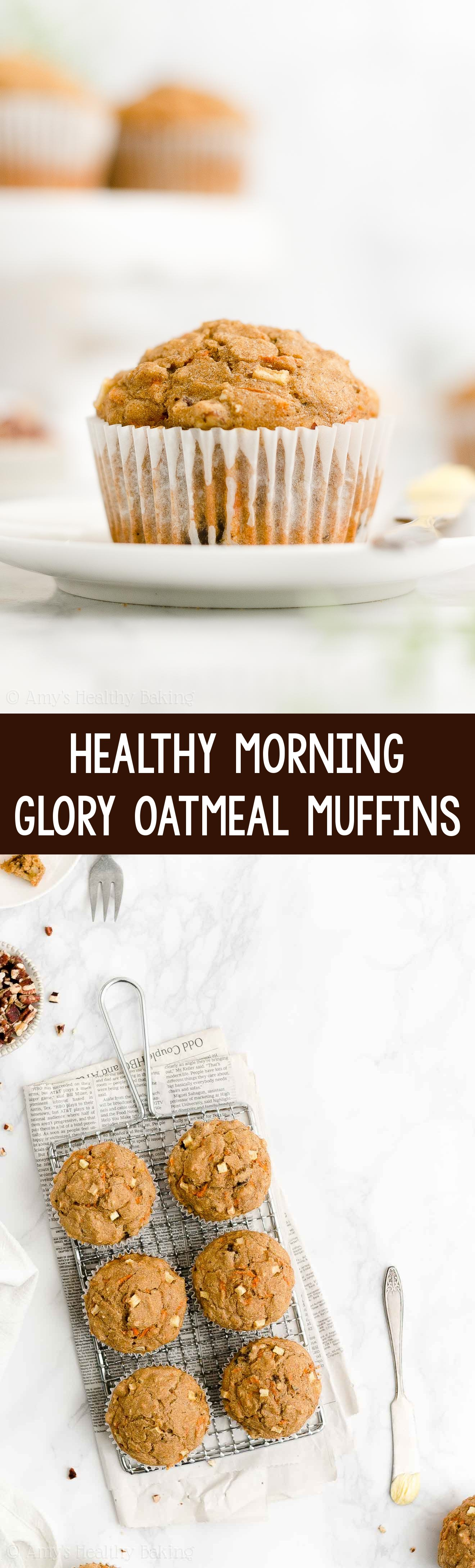 Best Easy Healthy Clean Eating No Sugar Moist Morning Glory Oatmeal Muffins
