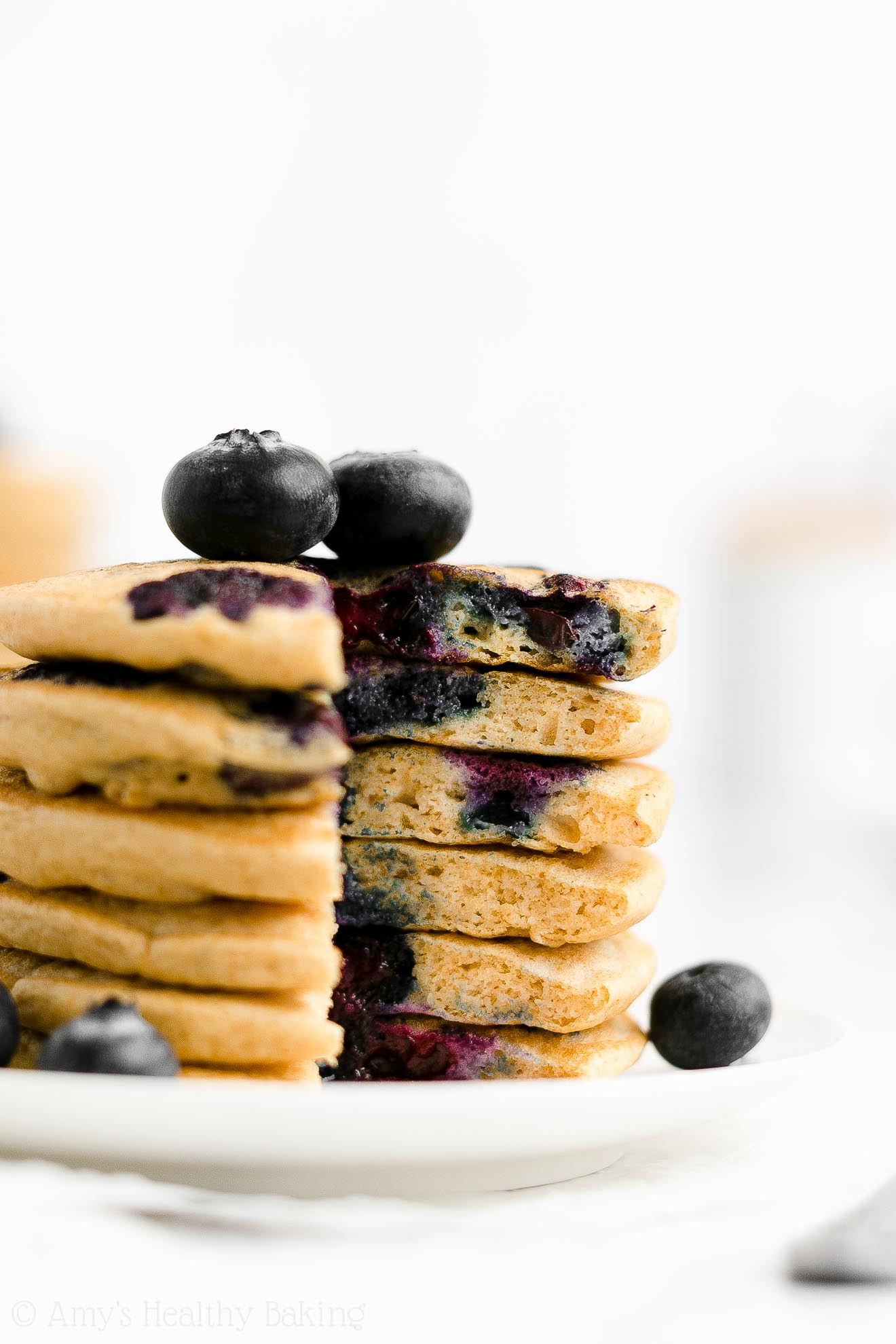 Best Easy Healthy Whole Wheat Low Sugar One-Bowl Fluffy Blueberry Pancakes