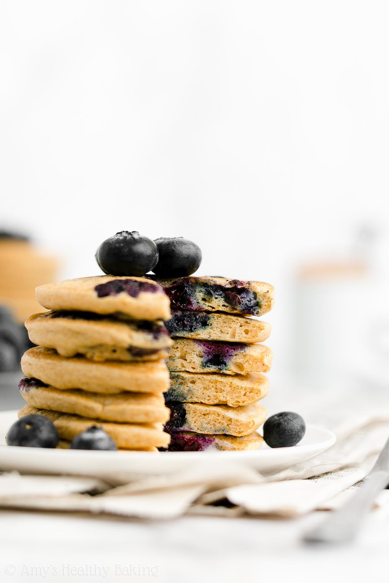 Best Easy Healthy Low Fat Gluten Free Greek Yogurt One-Bowl Blueberry Pancakes