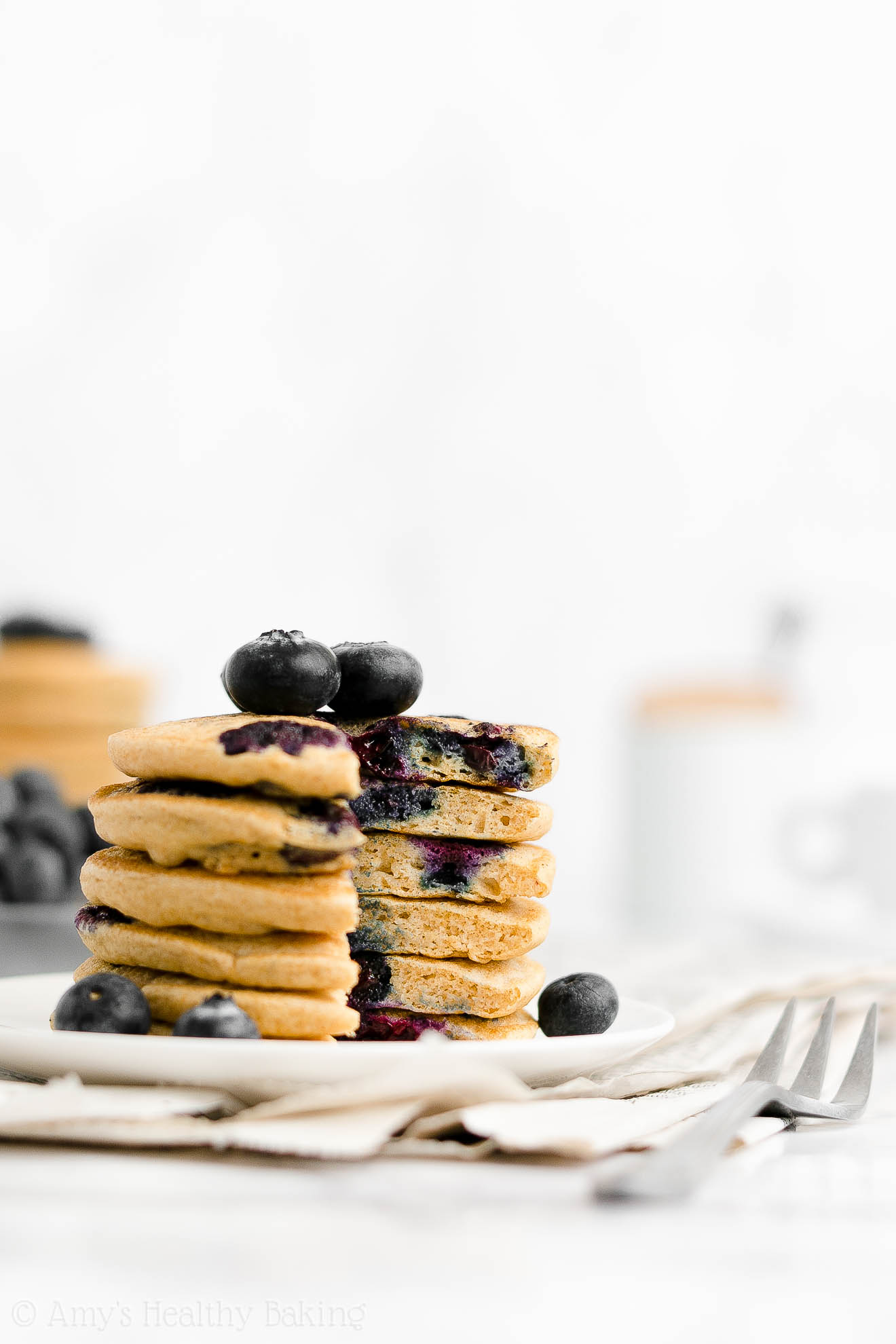 Best Easy Healthy Gluten Free Low Calorie One-Bowl Fluffy Blueberry Pancakes