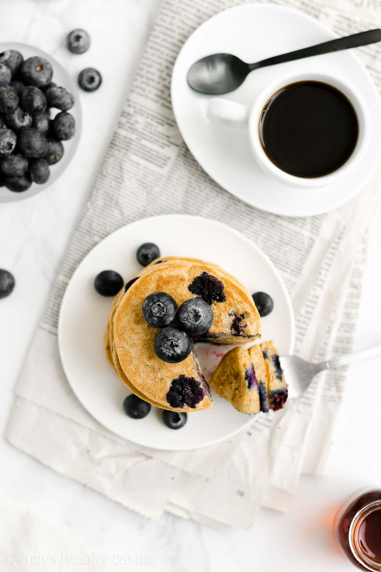 ULTIMATE Best Easy Healthy Clean Eating Low Sugar One-Bowl Blueberry Pancakes