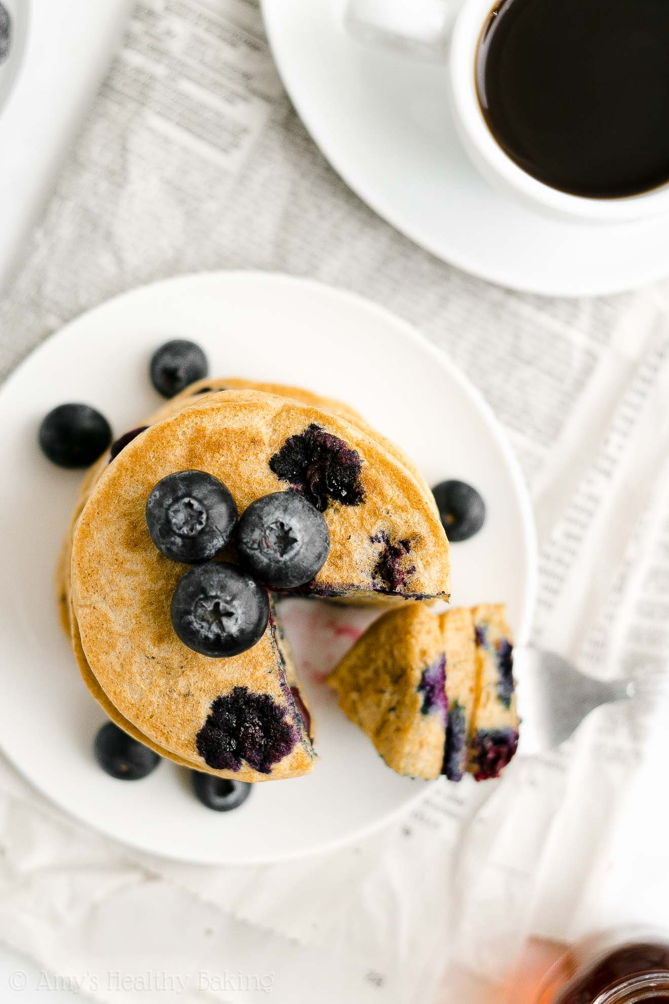 Best Easy Healthy Whole Wheat Low Calorie One-Bowl Fluffy Blueberry Pancakes