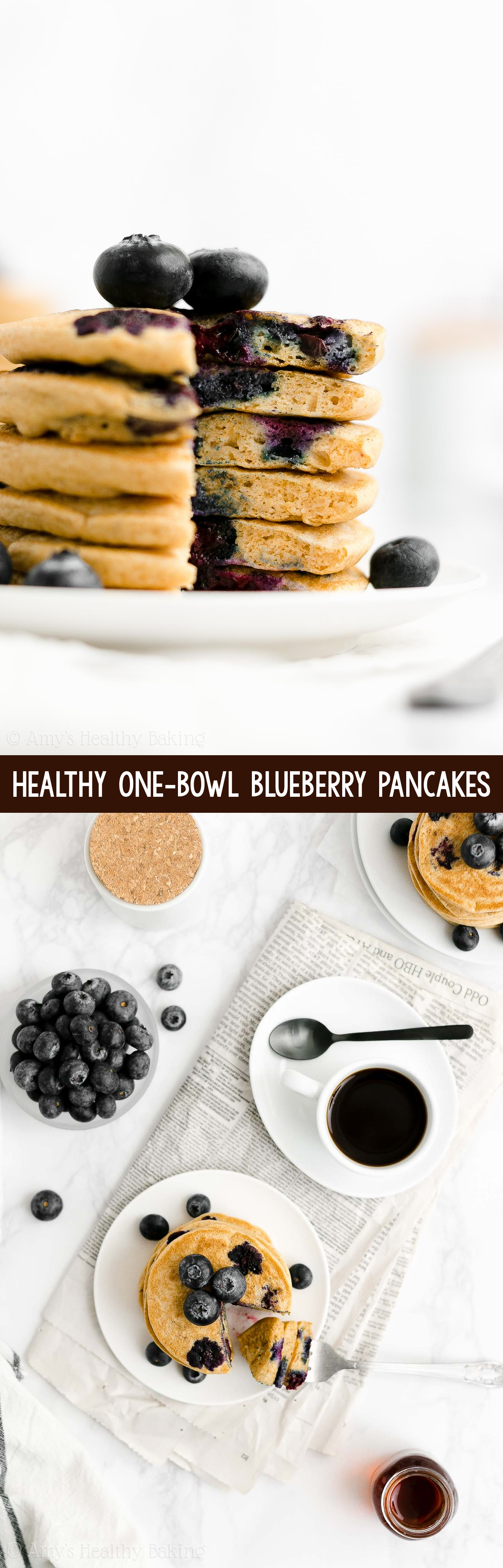 ULTIMATE Best Easy Healthy Clean Eating Fluffy One-Bowl Blueberry Pancakes