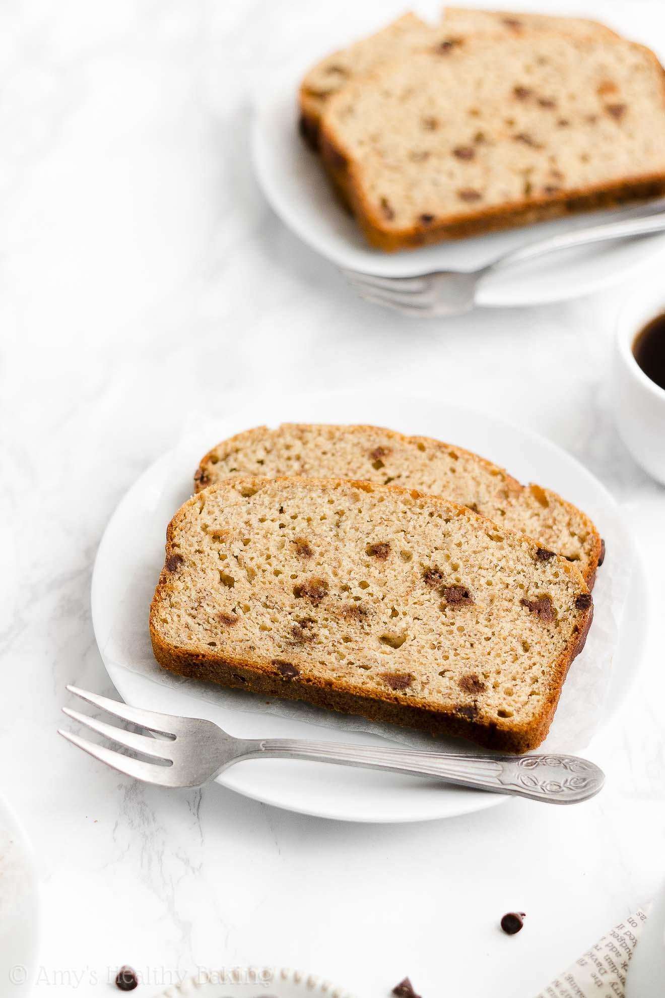 Best Easy Healthy Gluten Free Low Sugar Greek Yogurt Chocolate Chip Banana Bread