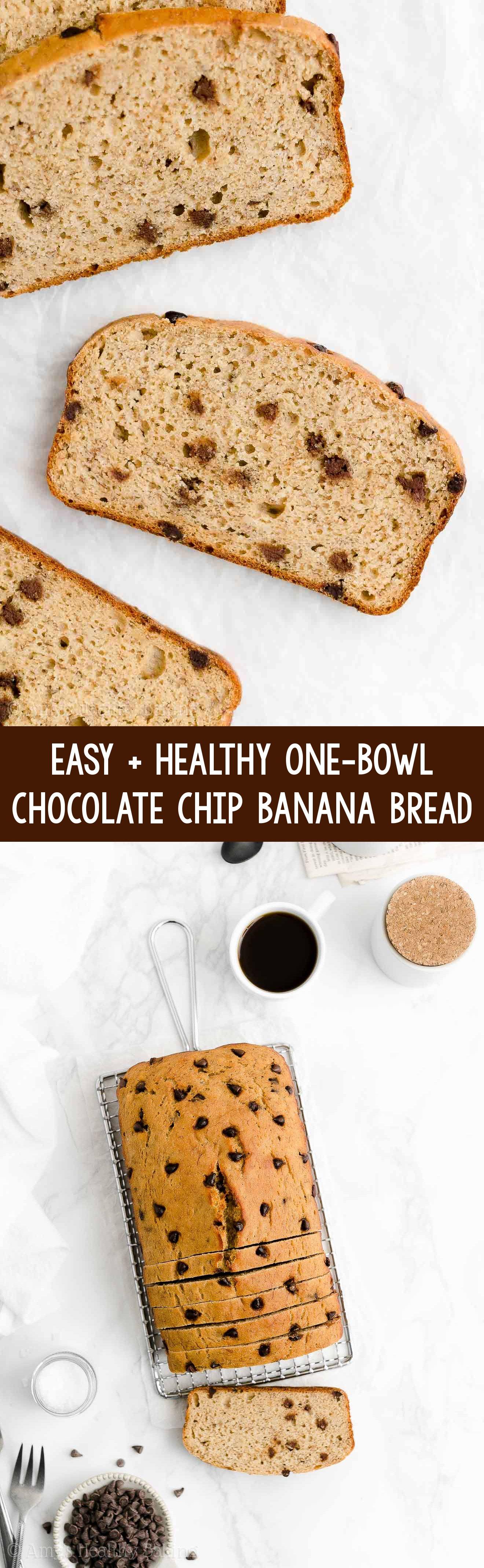 Best Easy One-Bowl Healthy Greek Yogurt No Sugar Chocolate Chip Banana Bread