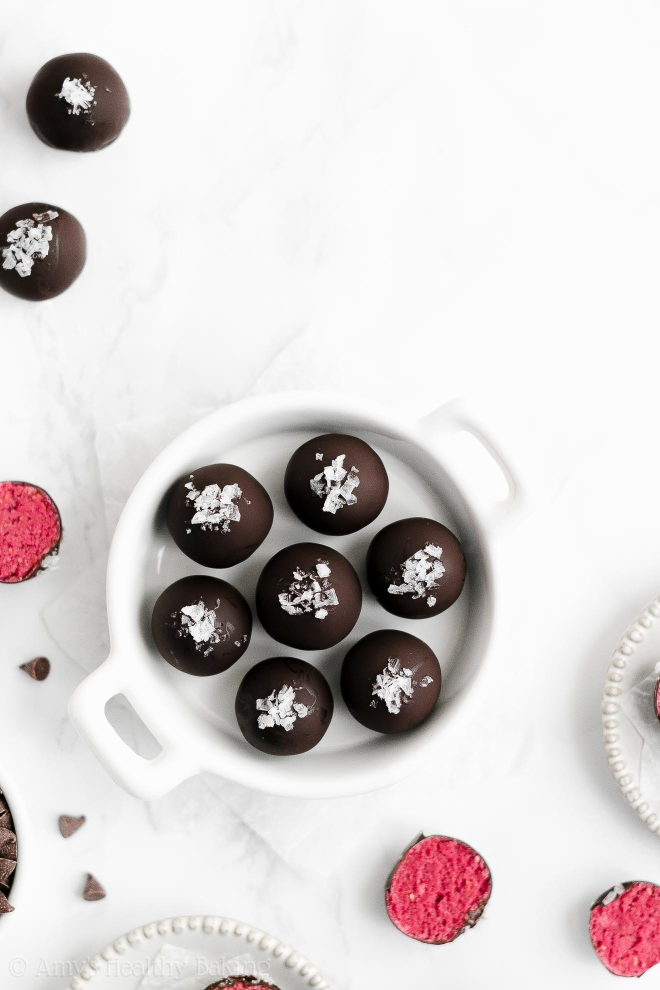 ULTIMATE Best Easy Healthy Dark Chocolate Freeze Dried Raspberry Truffles