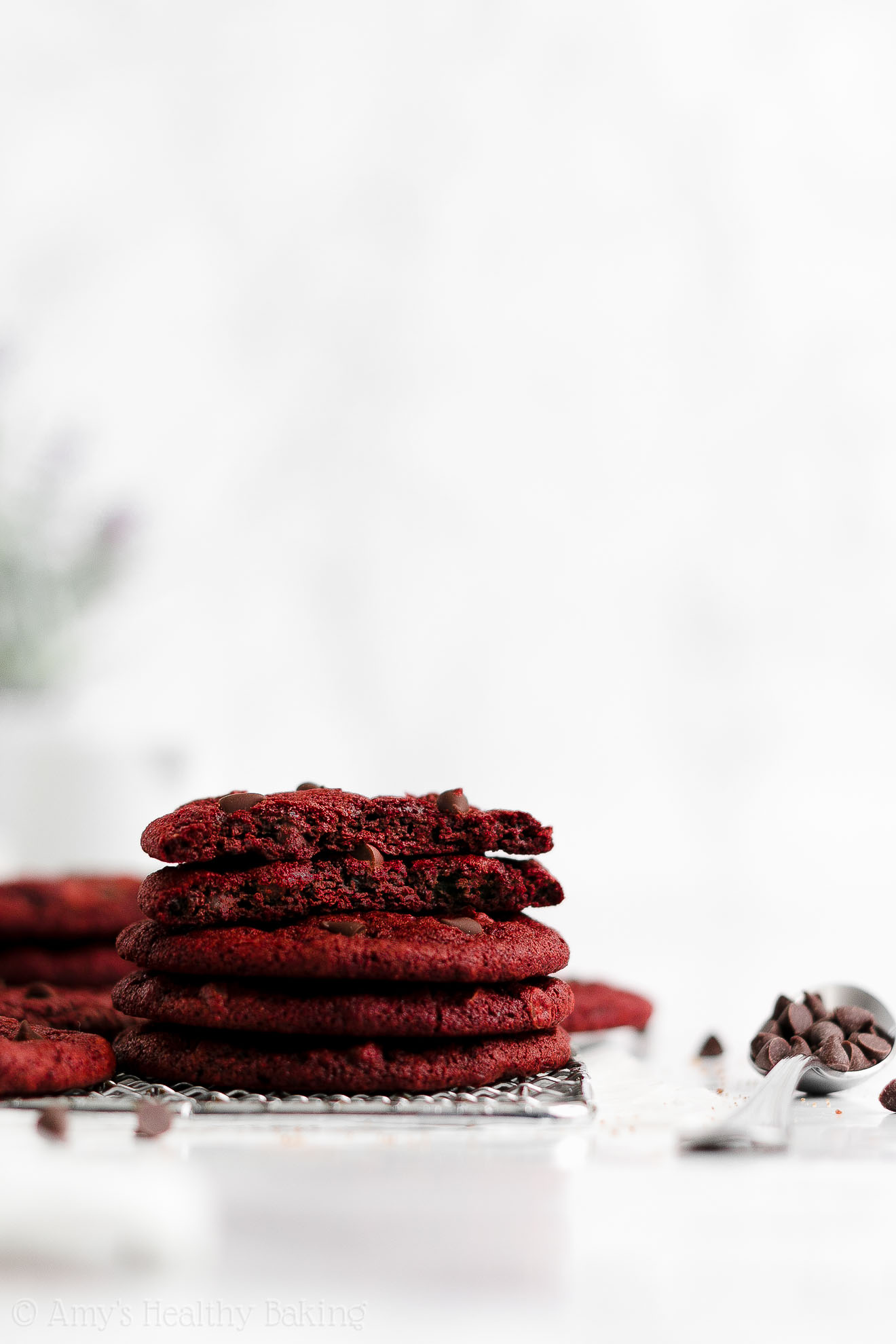 Best Easy Healthy Soft Chewy Vegan Egg Free Red Velvet Chocolate Chip Cookies