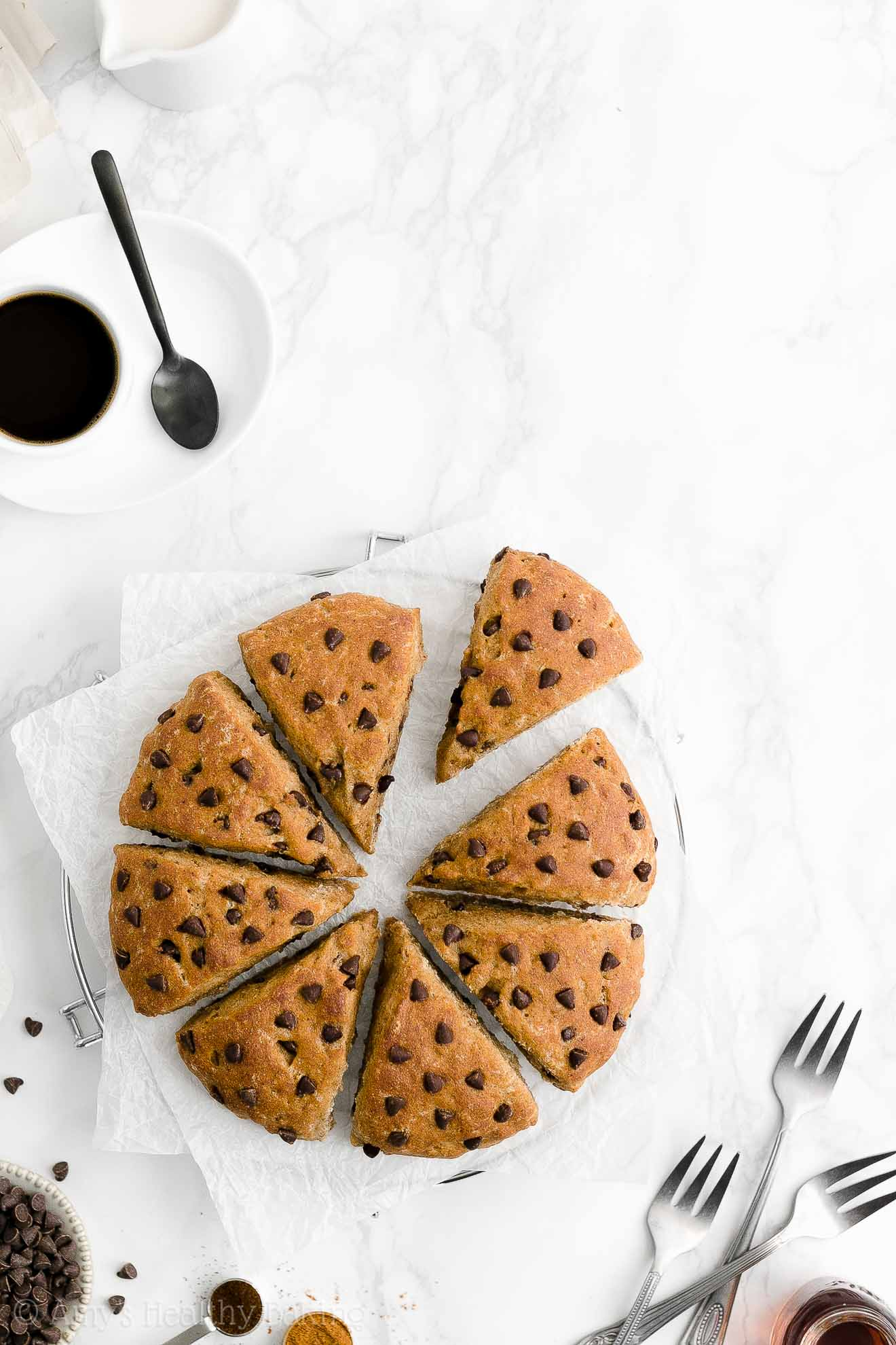 Easy Healthy Low Fat Gluten Free Vegan Moist Chai Spice Chocolate Chip Scones