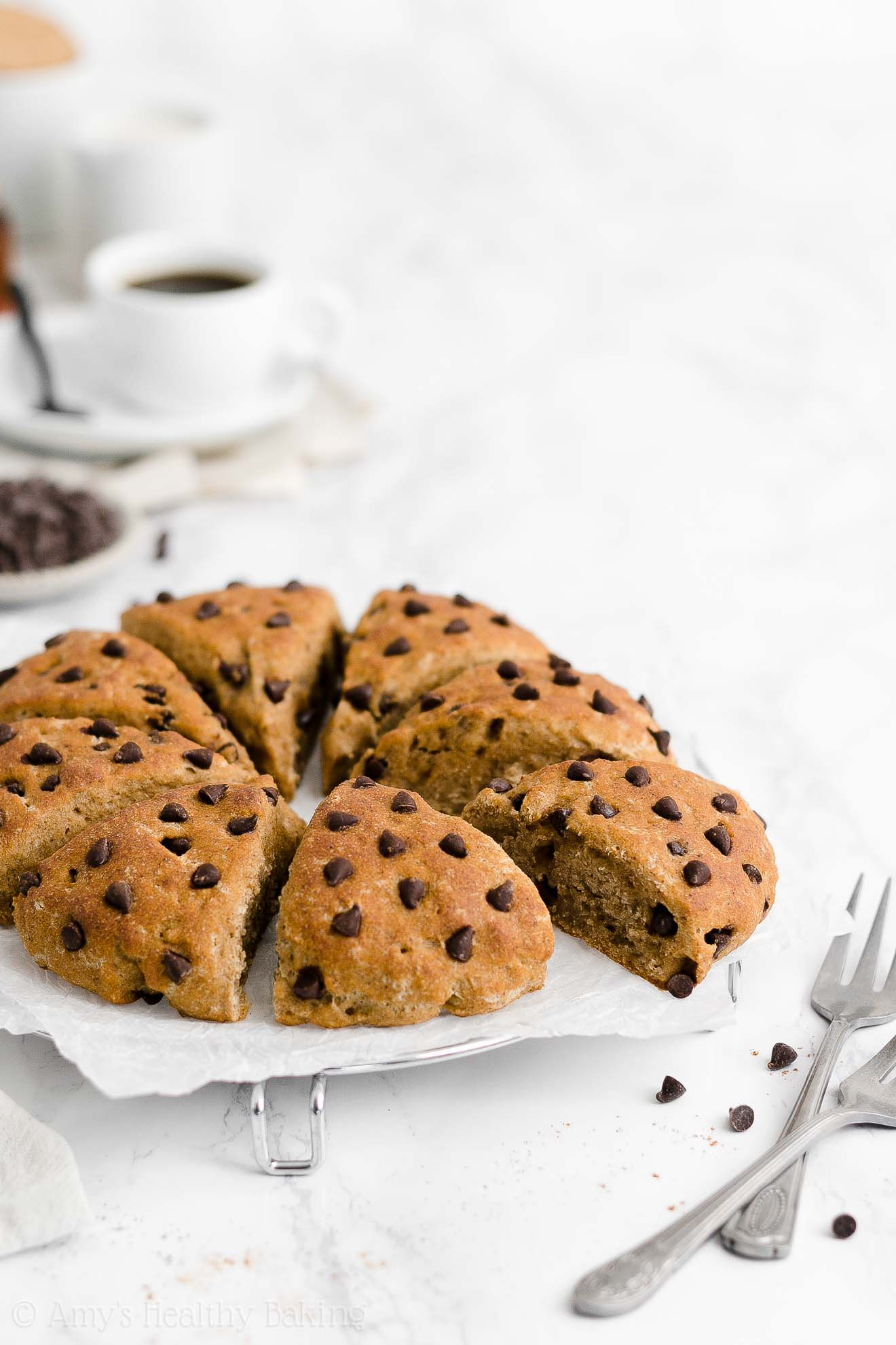 Easy Healthy Weight Watchers Greek Yogurt Chai Spice Chocolate Chip Scones