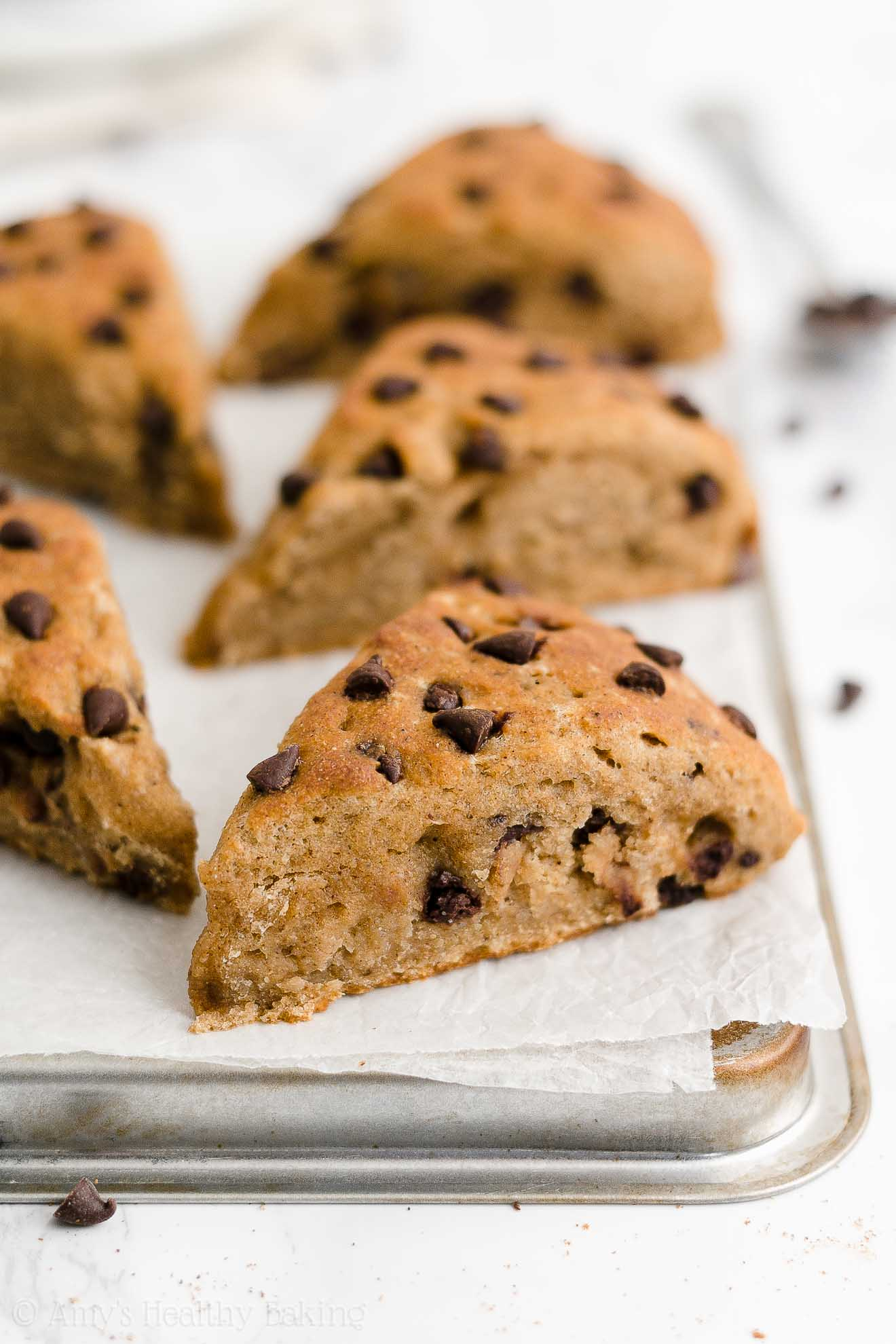 Easy Healthy Whole Wheat Low Calorie Chai Spice Chocolate Chip Scones