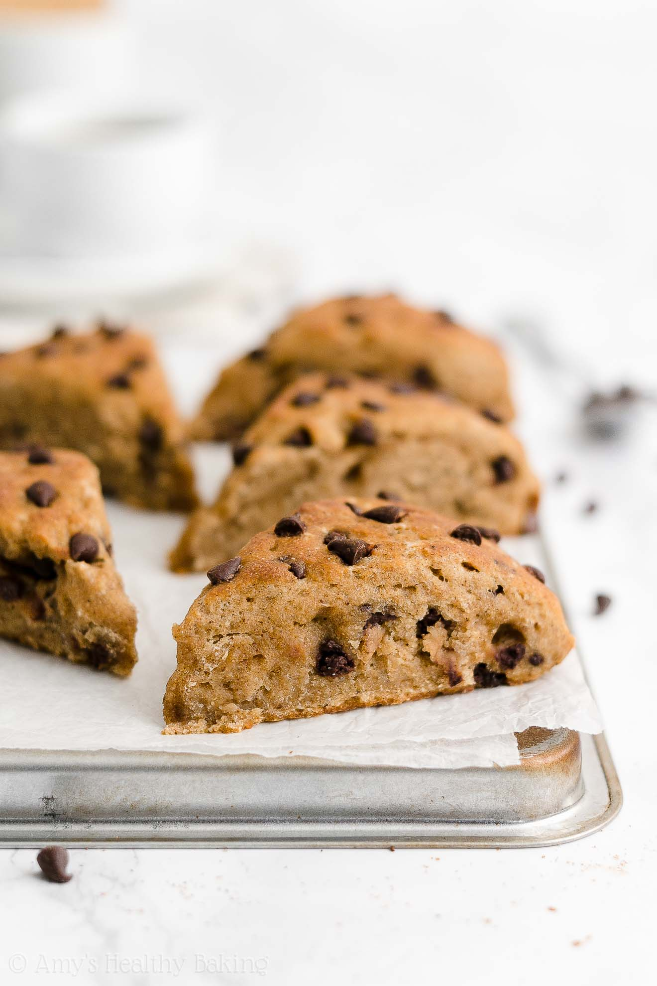 Easy Healthy Moist Whole Wheat Greek Yogurt Chai Spice Chocolate Chip Scones