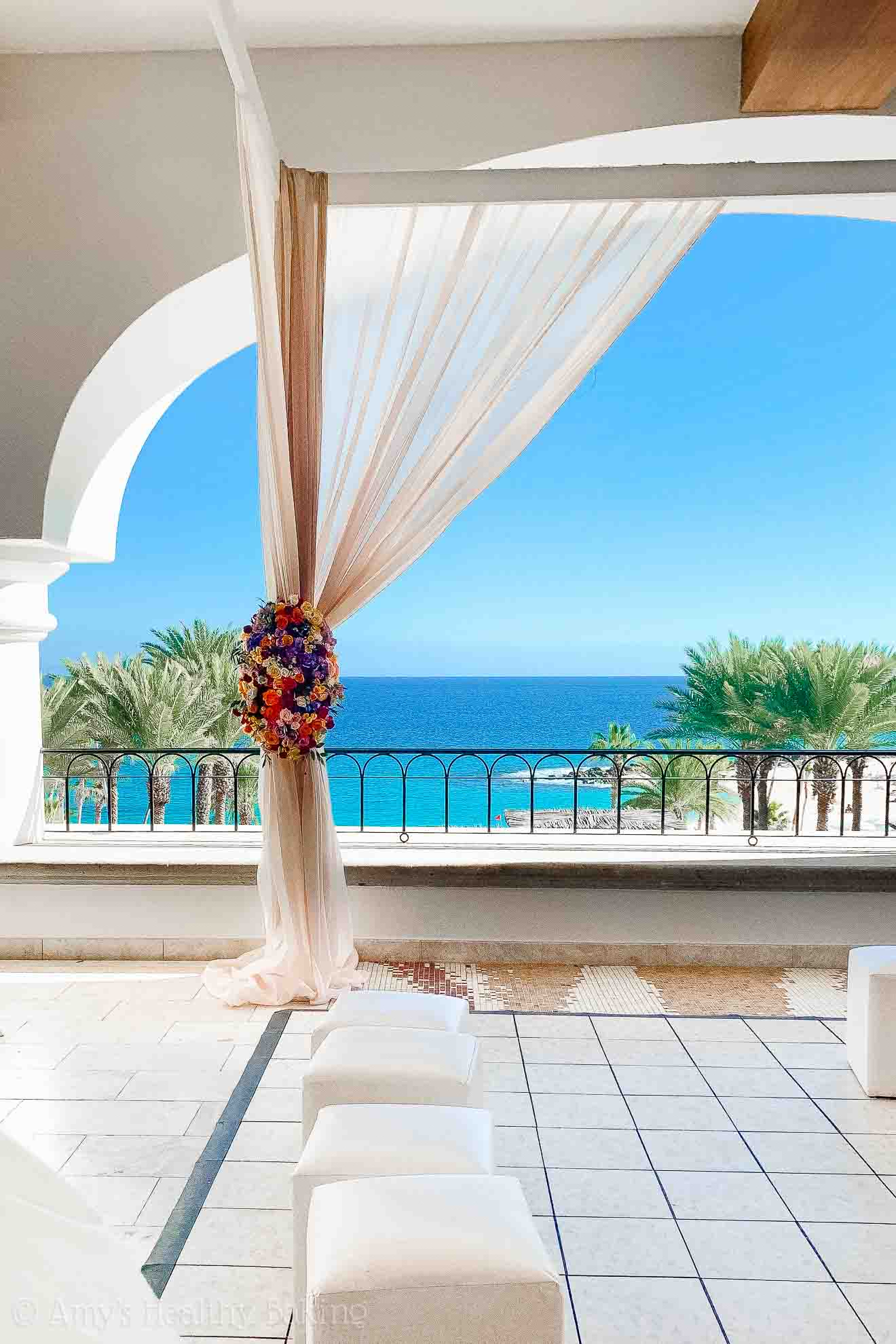 Wedding altar overlooking the ocean at the Hilton Los Cabos in Mexico