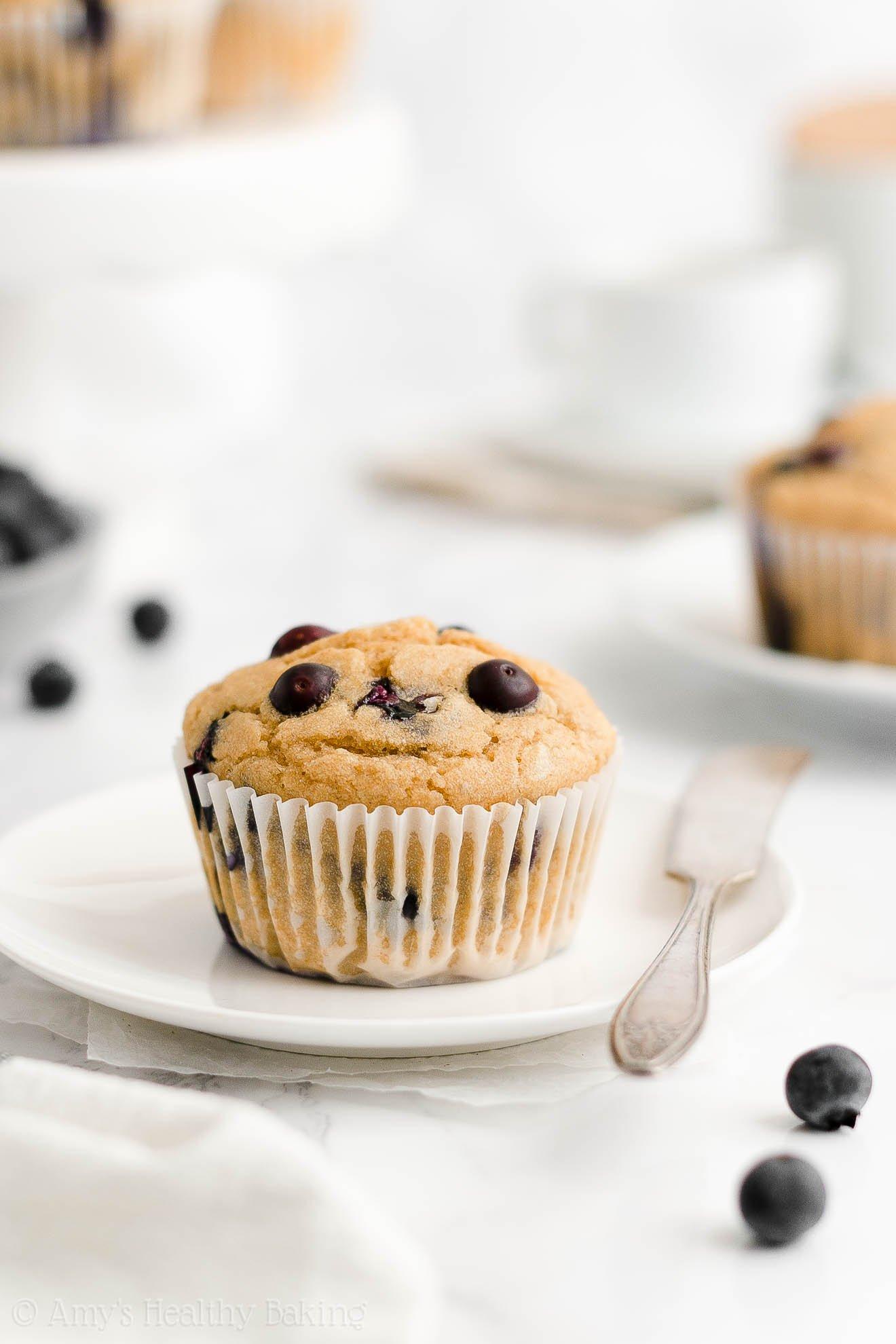 ULTIMATE Best Easy Healthy Gluten Free Low Calorie Yogurt Blueberry Muffins