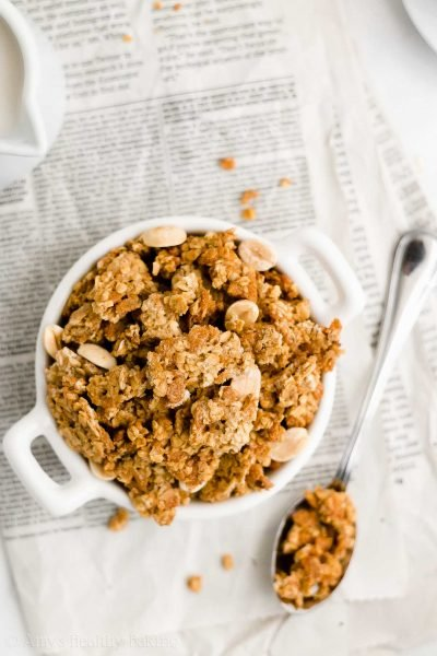 Healthy One-Bowl Peanut Butter Granola {5-Ingredient Recipe!}
