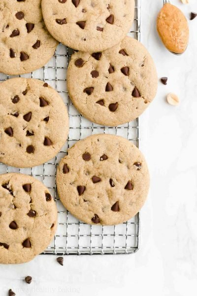 Healthy One-Bowl Chocolate Chip Peanut Butter Cookies {Eggless & Dairy-Free!}