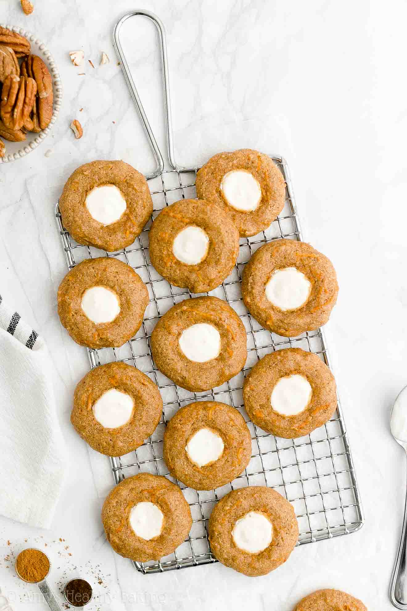 Best Healthy Whole Wheat Low Calorie Chewy Carrot Cake Thumbprint Cookies