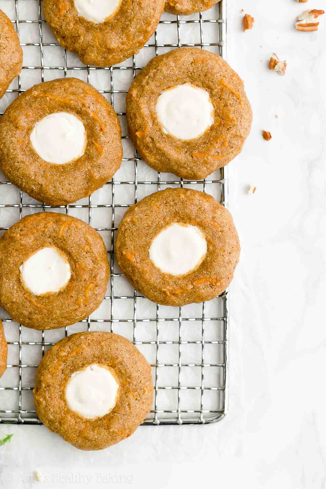 Best Healthy Low Fat Gluten Free Soft Chewy Carrot Cake Thumbprint Cookies