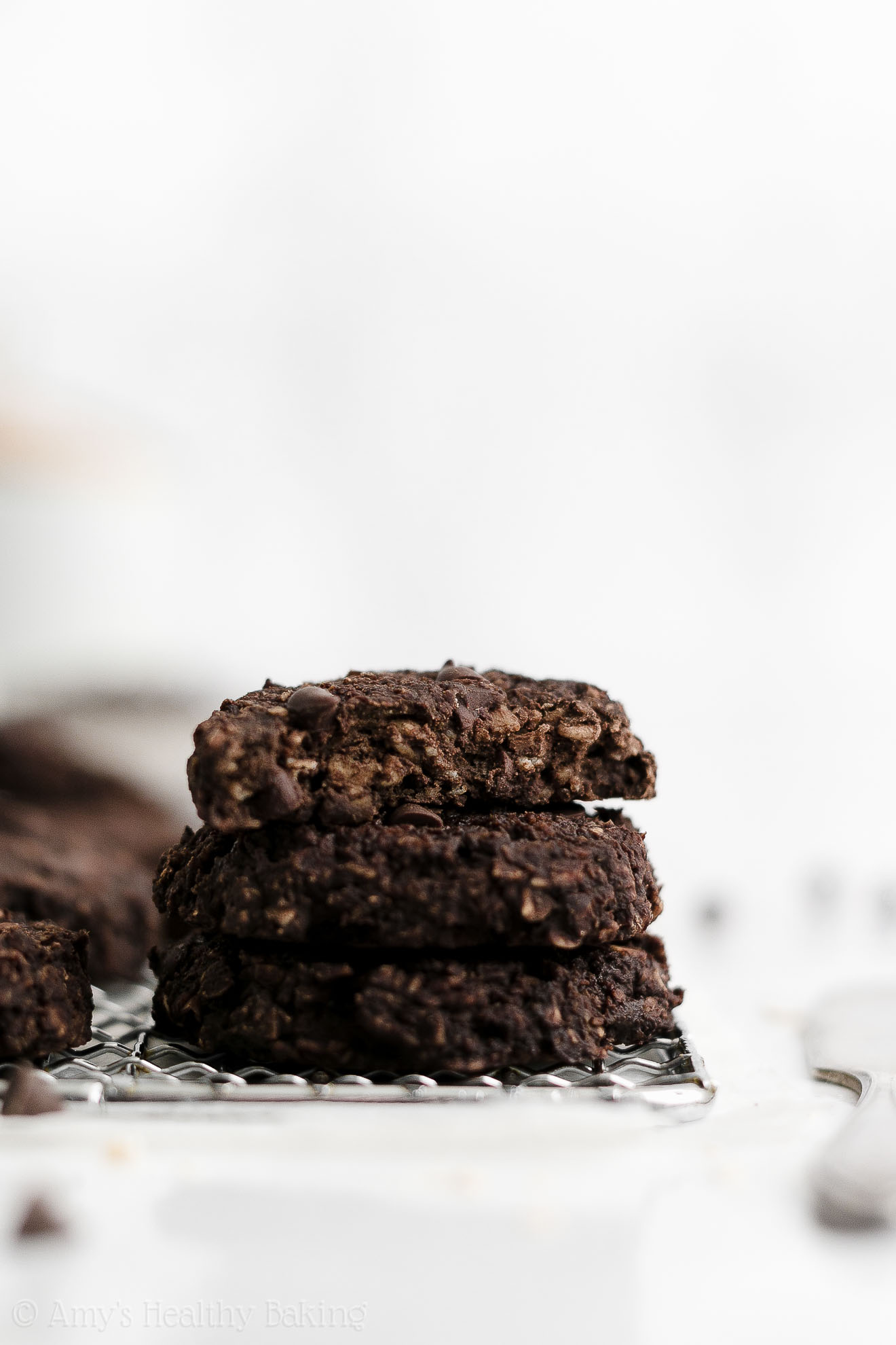 Healthy Clean Eating Low Calorie Flourless Chocolate Oatmeal Breakfast Cookies
