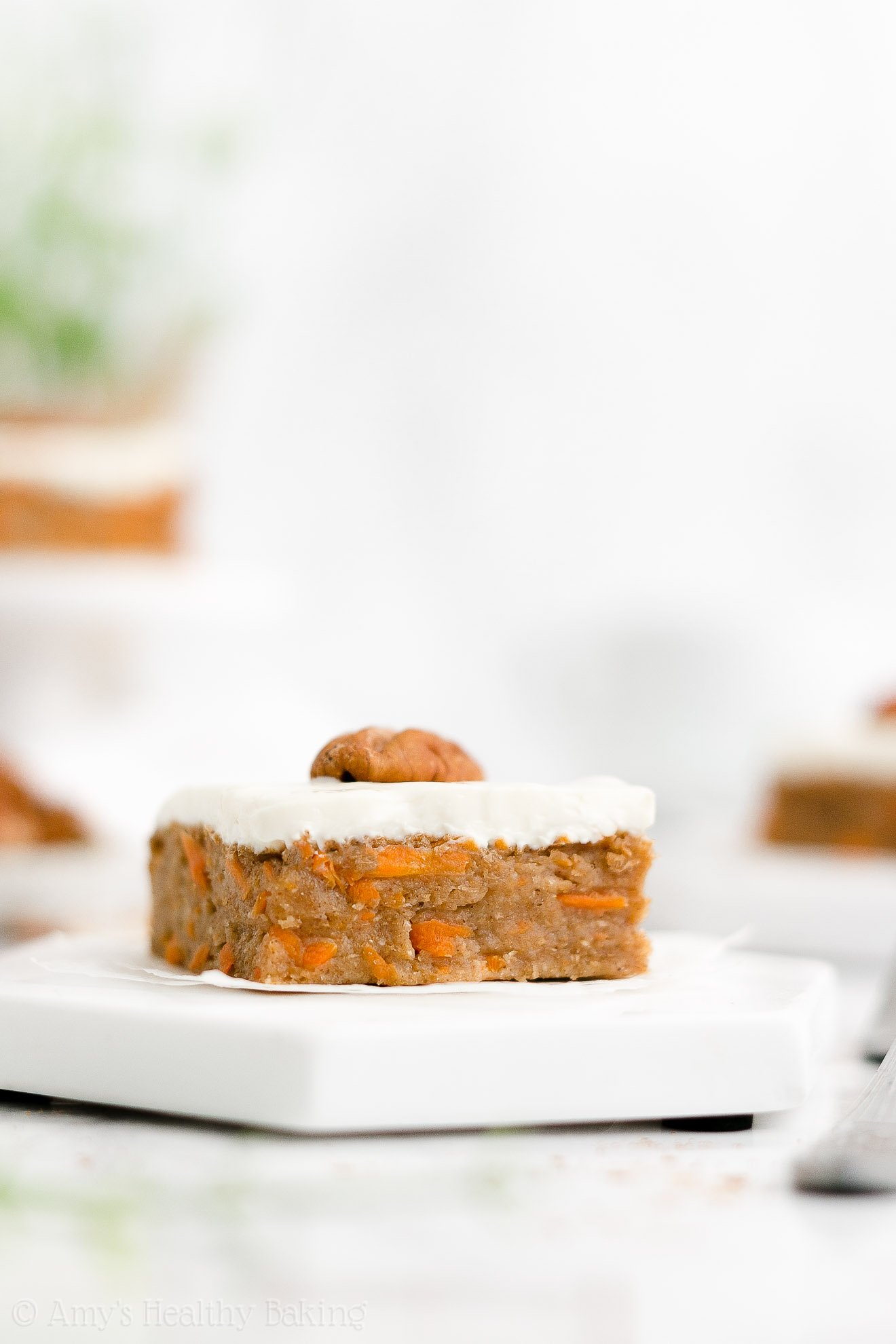 Healthy Clean Eating Greek Yogurt Carrot Cake Bars with Cream Cheese Frosting