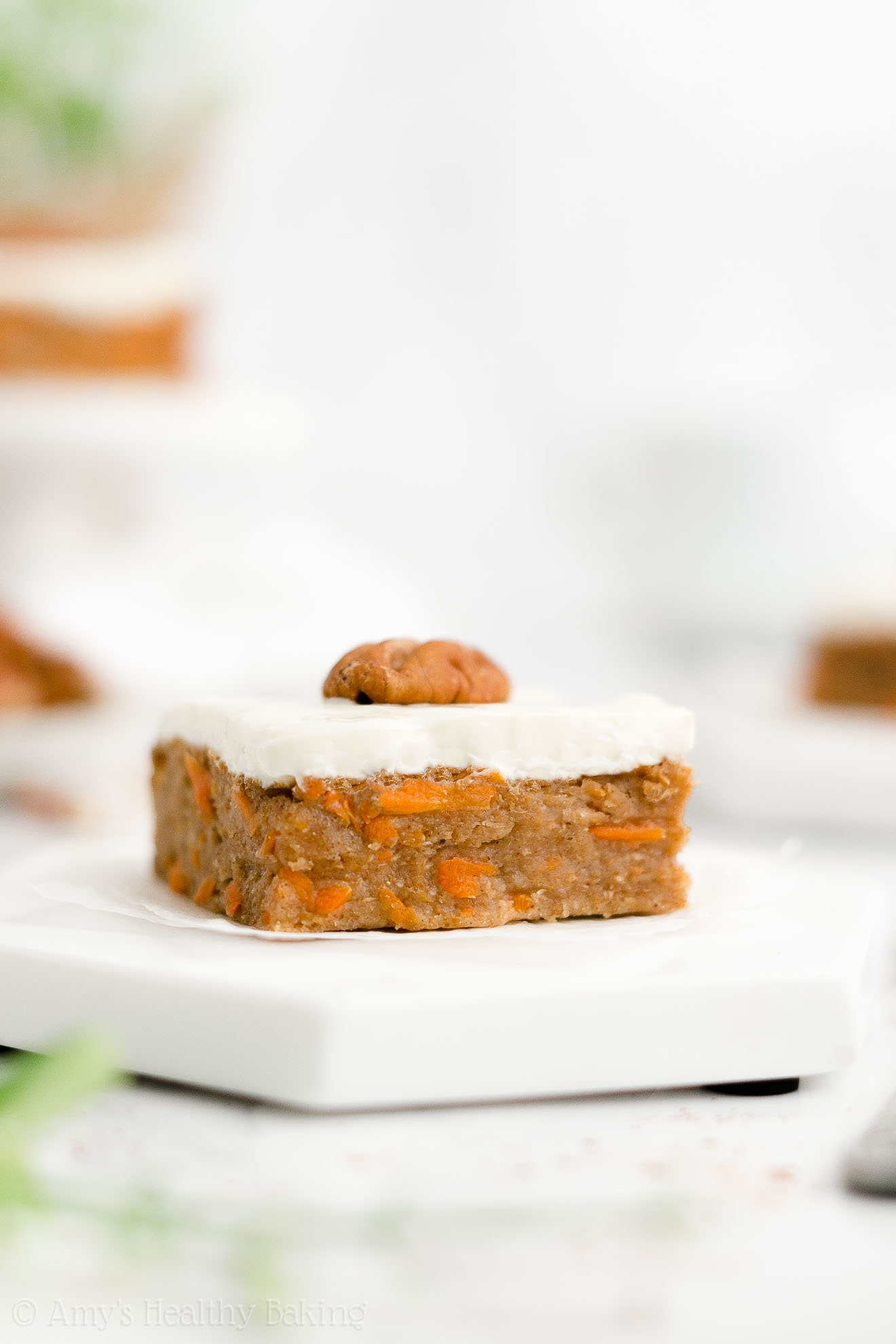 Easy Healthy Whole Wheat Low Fat Carrot Cake Bars with Cream Cheese Frosting