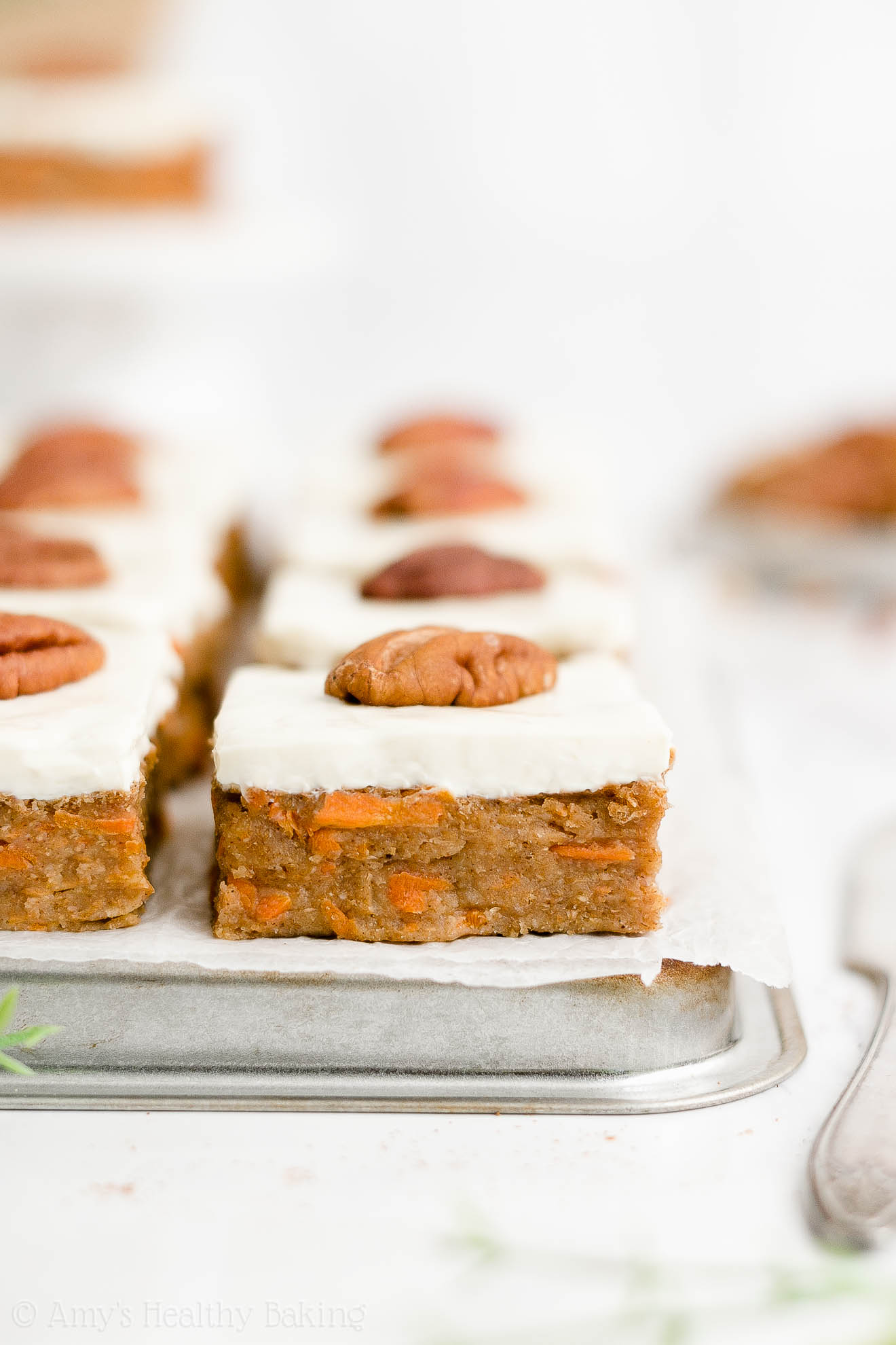 Healthy Low Calorie Sugar Free Carrot Cake Bars with Cream Cheese Frosting