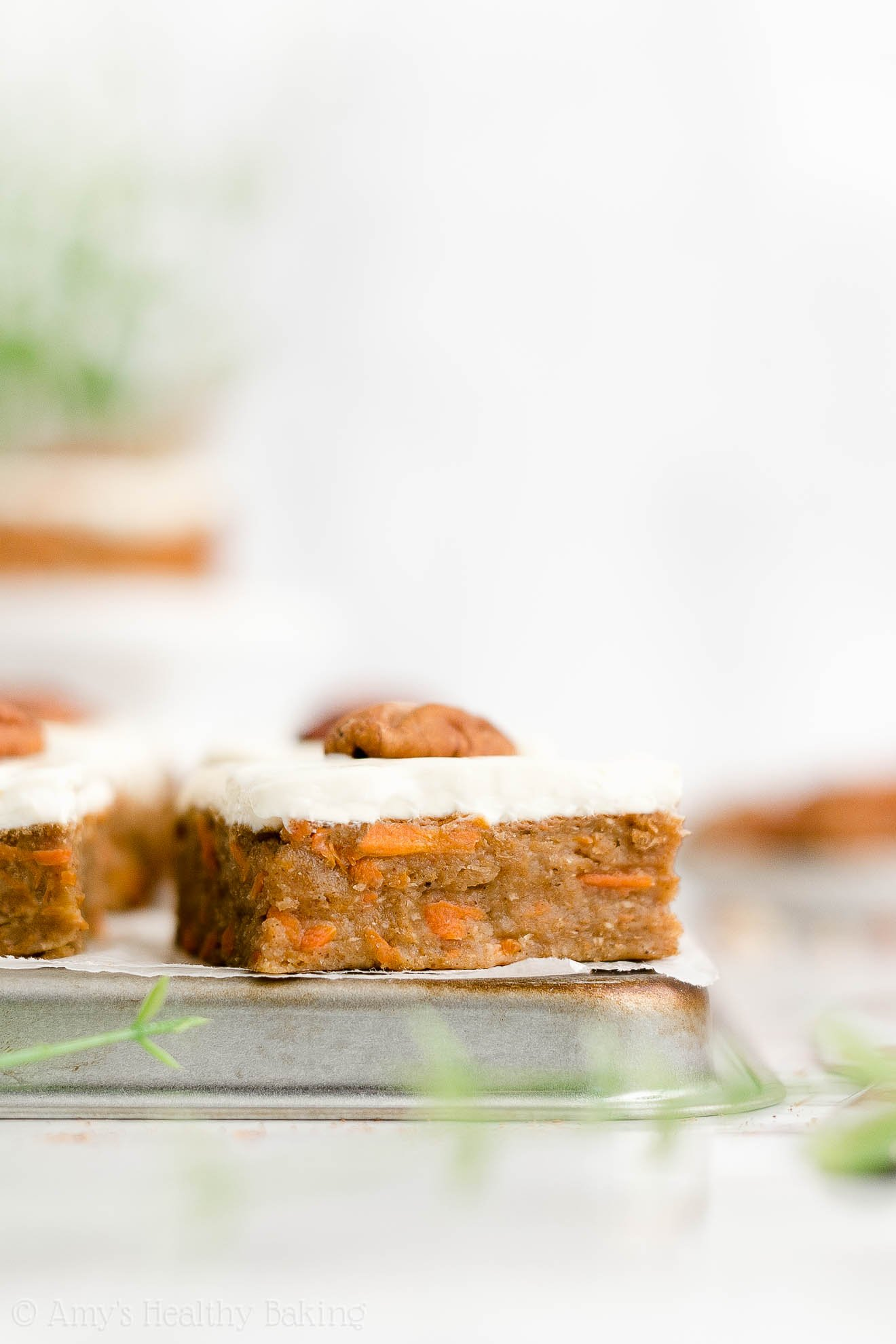Best Healthy Whole Wheat Sugar Free Carrot Cake Bars with Cream Cheese Frosting