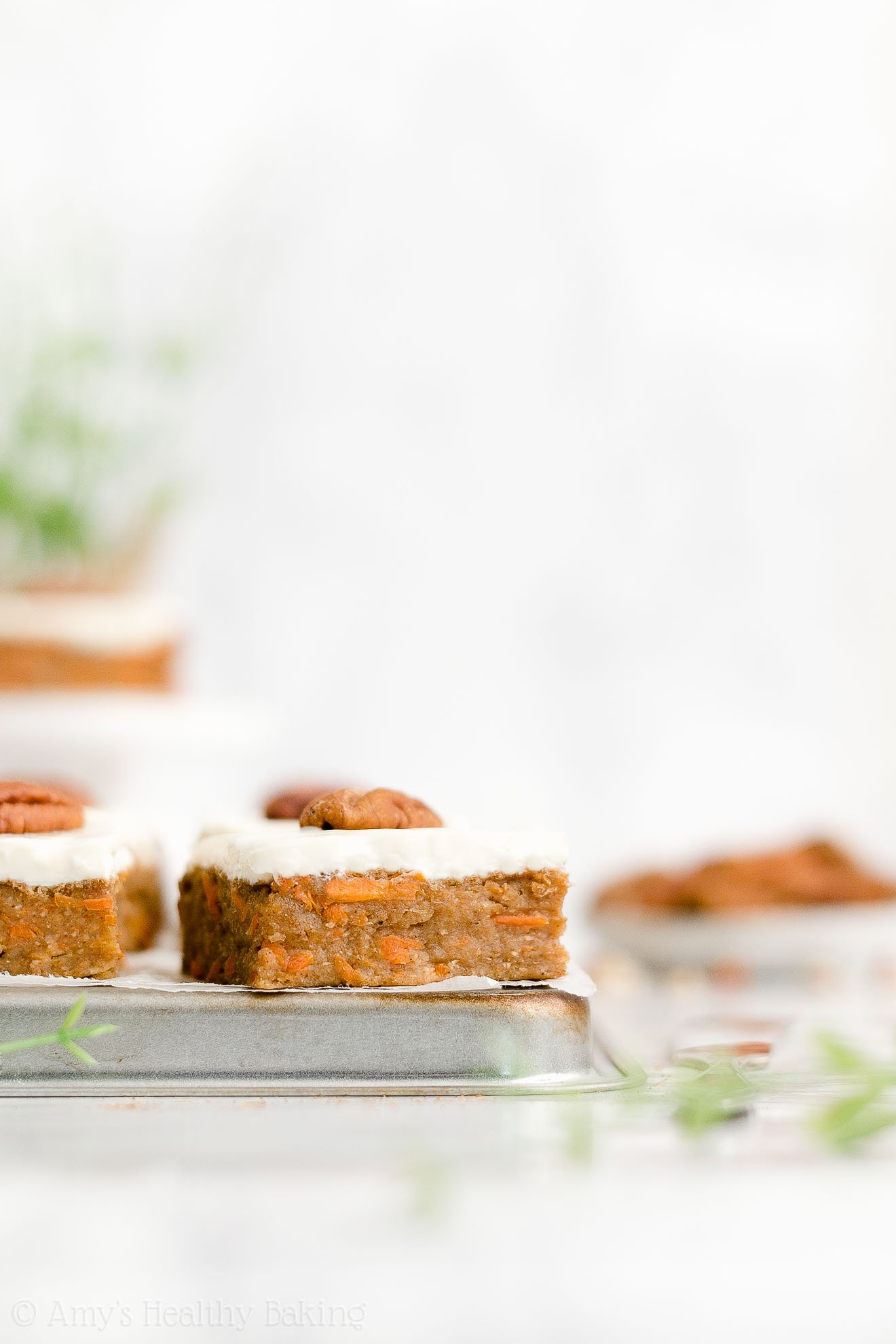 Easy Healthy Low Fat Carrot Cake Bars with Greek Yogurt Cream Cheese Frosting