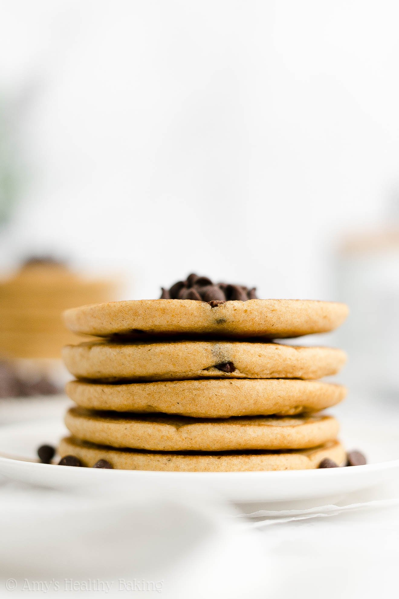 ULTIMATE Best Ever Easy Healthy Gluten Free Fluffy Chocolate Chip Pancakes
